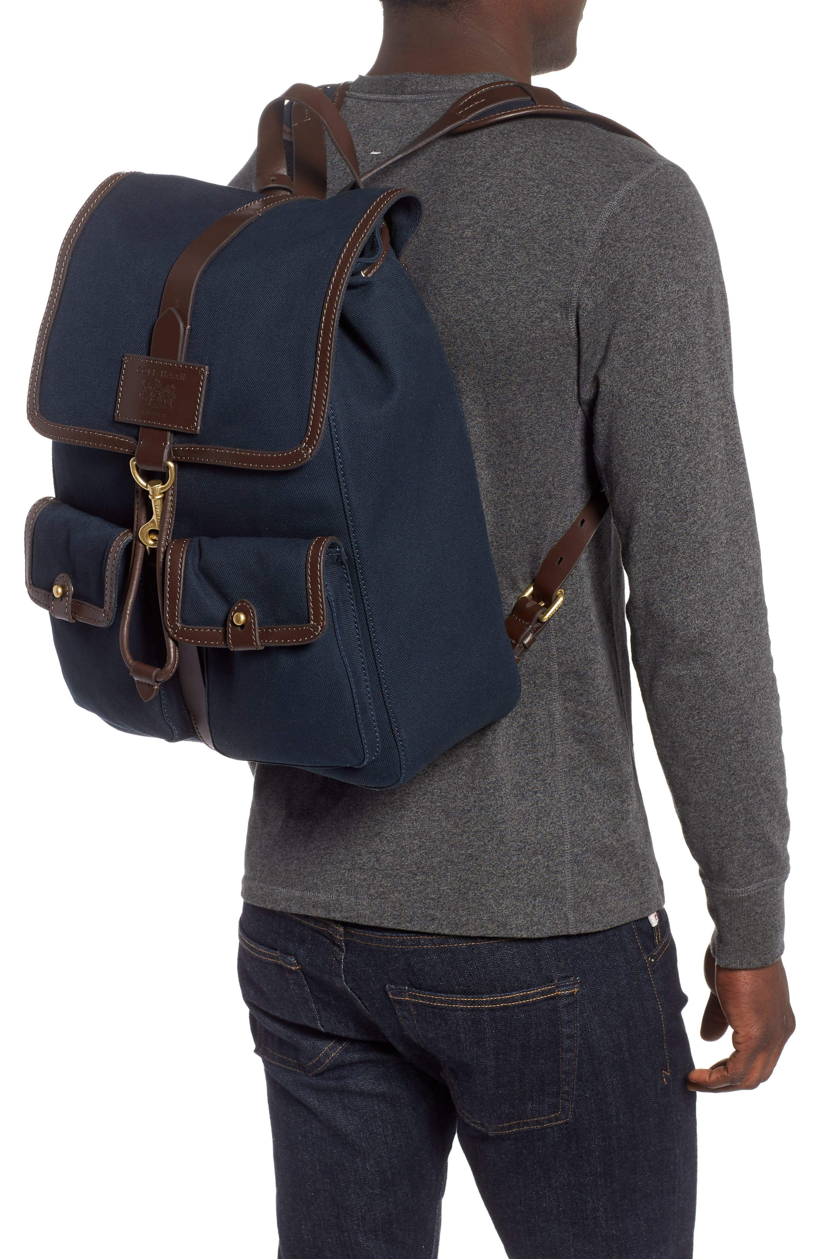 Canvas Backpack,                             Alternate thumbnail 2, color,                             NAVY