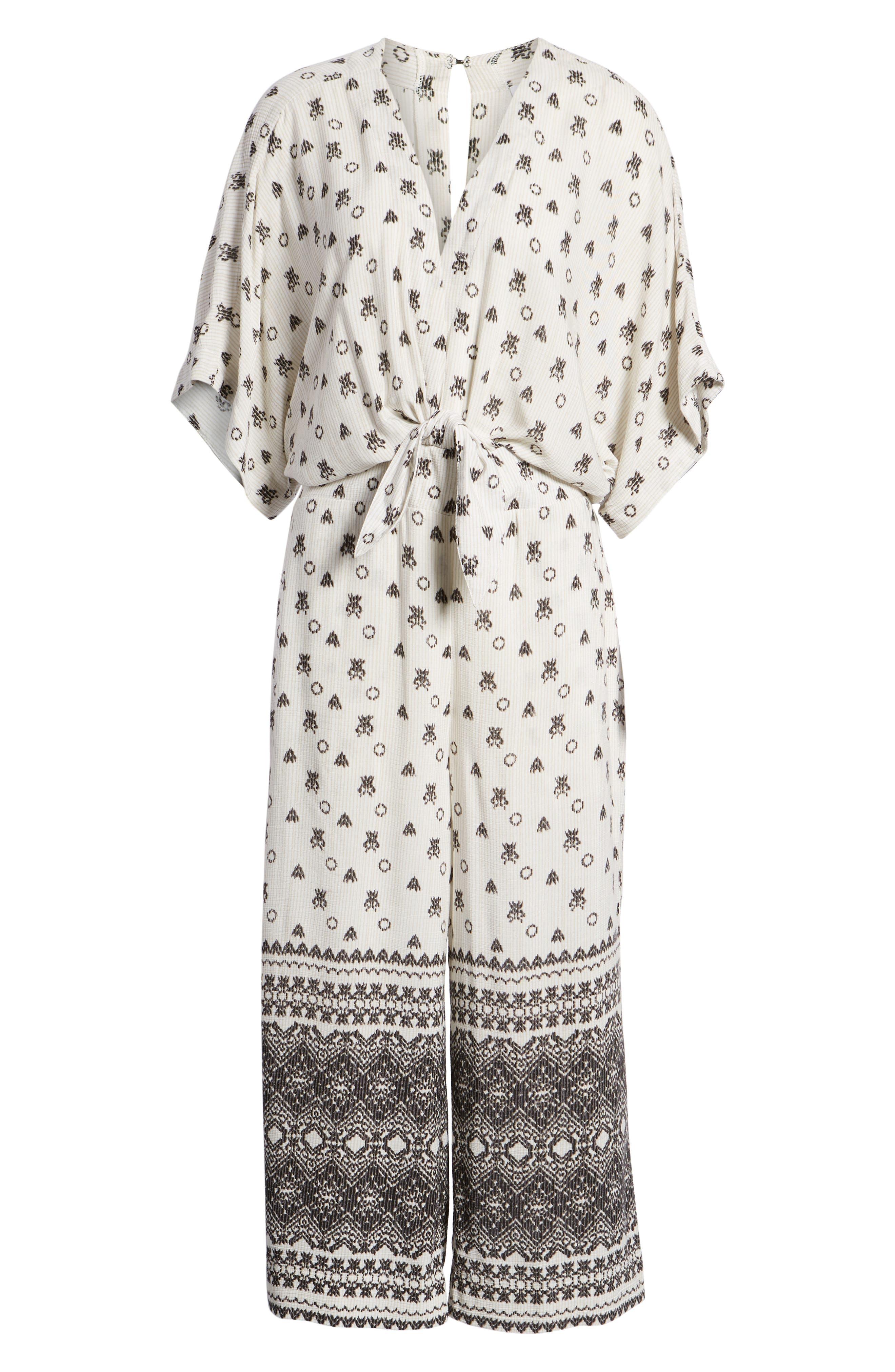 Desert Batik Print Tie Waist Jumpsuit,                             Alternate thumbnail 7, color,                             NATURAL