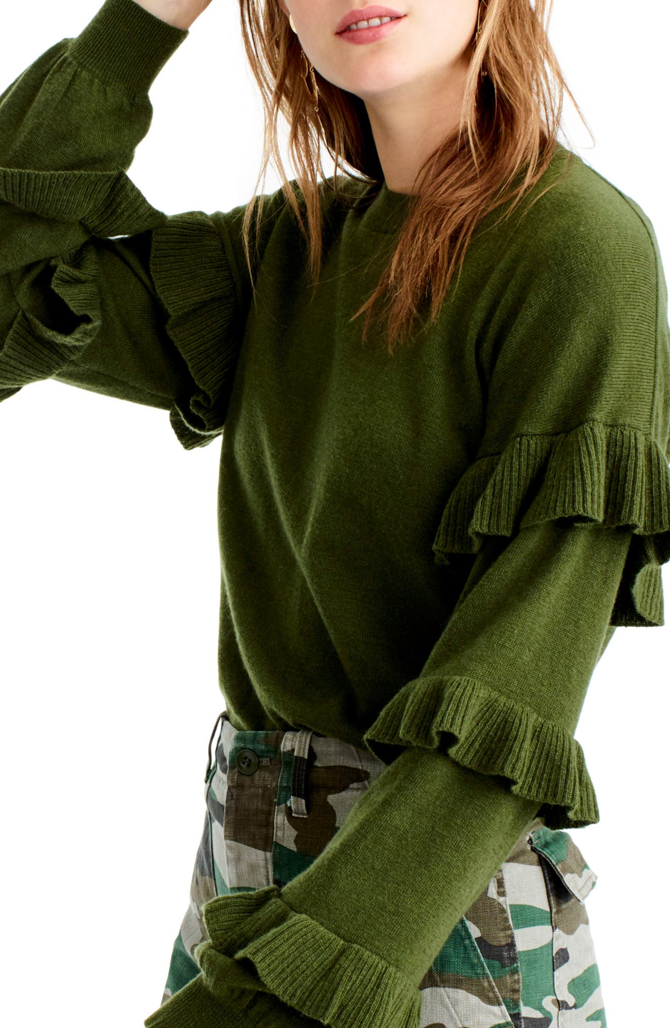 Ruffle Sleeve Sweater,                             Main thumbnail 3, color,