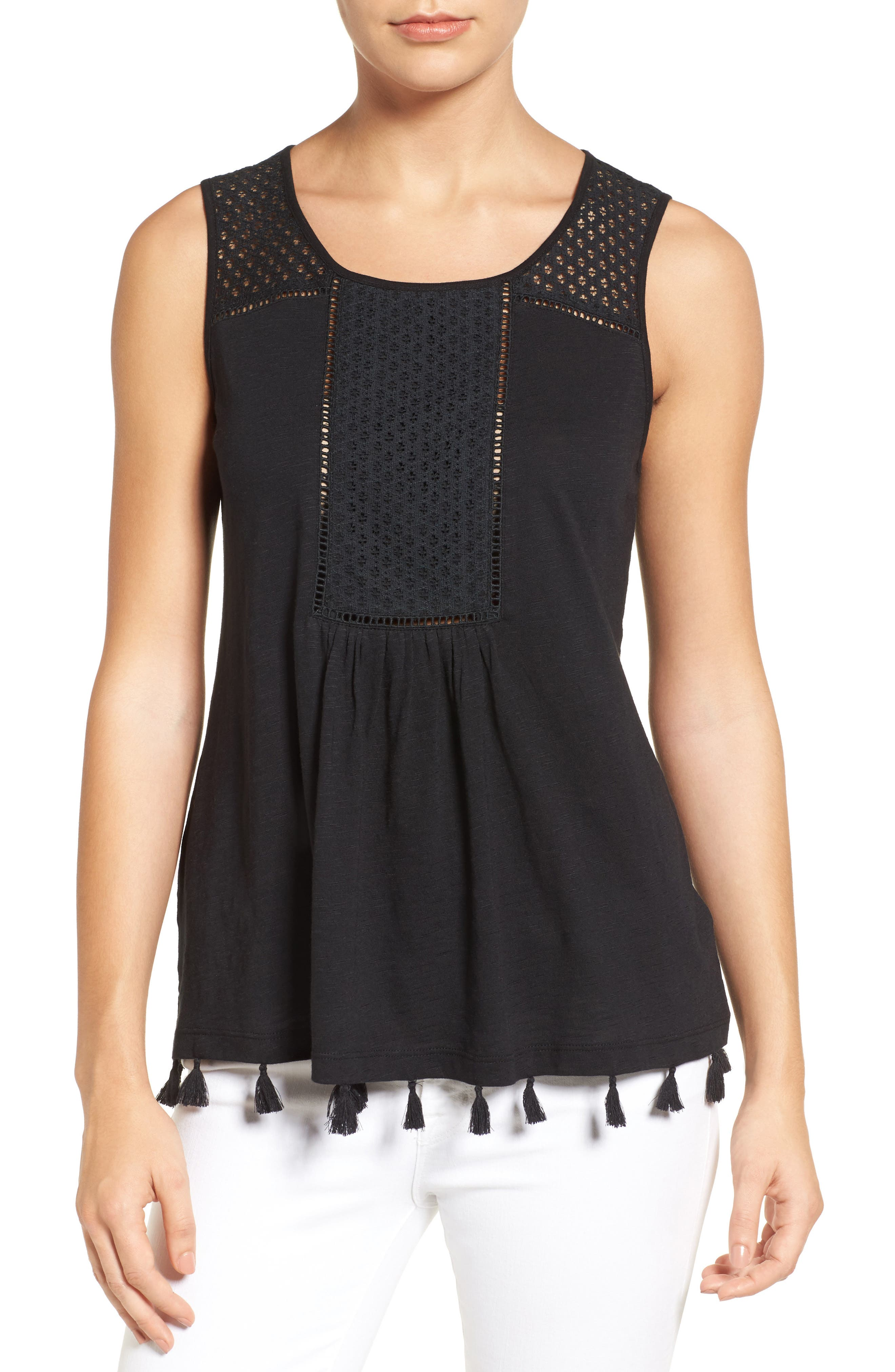 Tassel Trim Embroidered Tank,                             Main thumbnail 3, color,