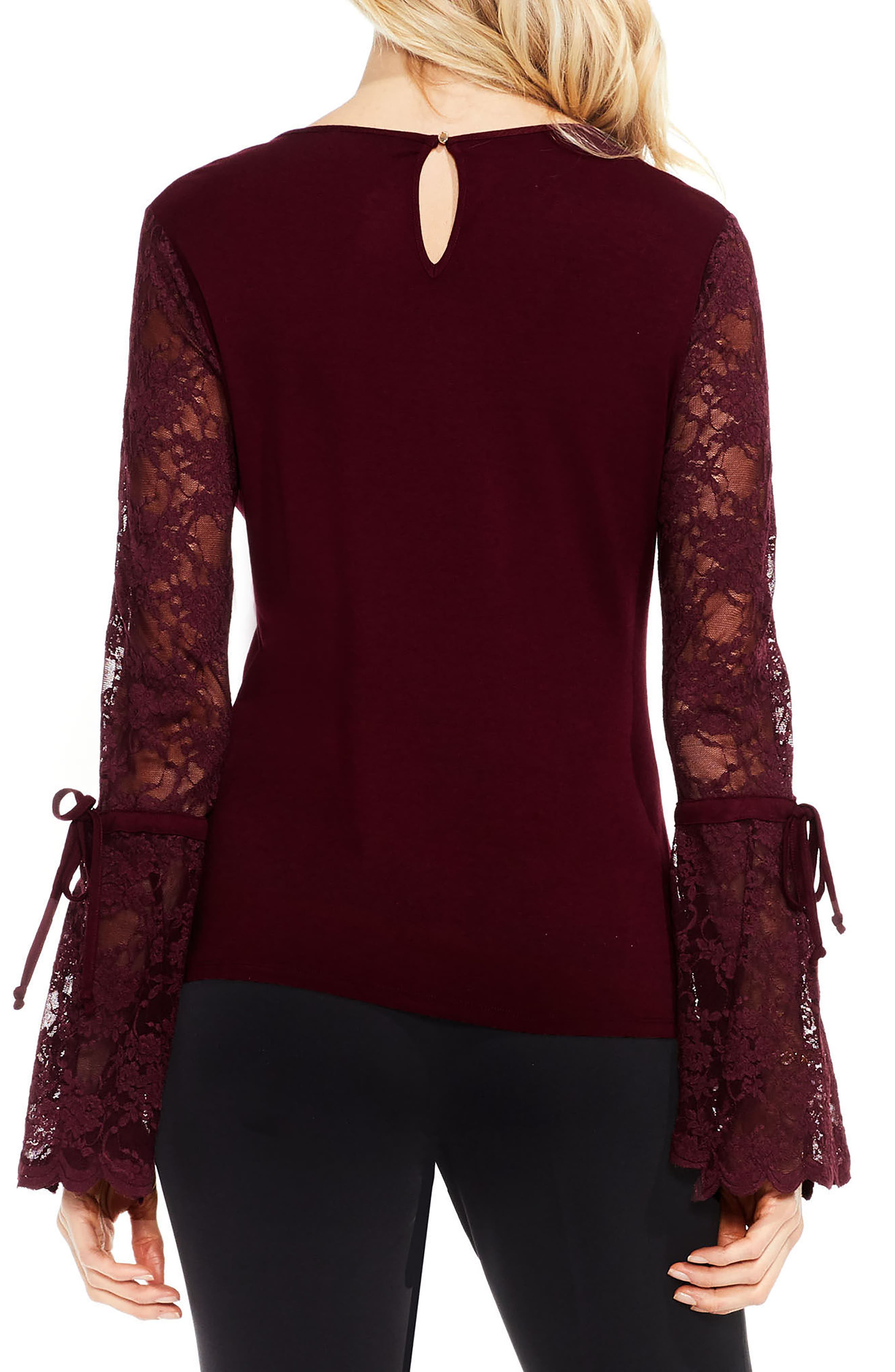 Lace Bell Sleeve Top,                             Alternate thumbnail 6, color,