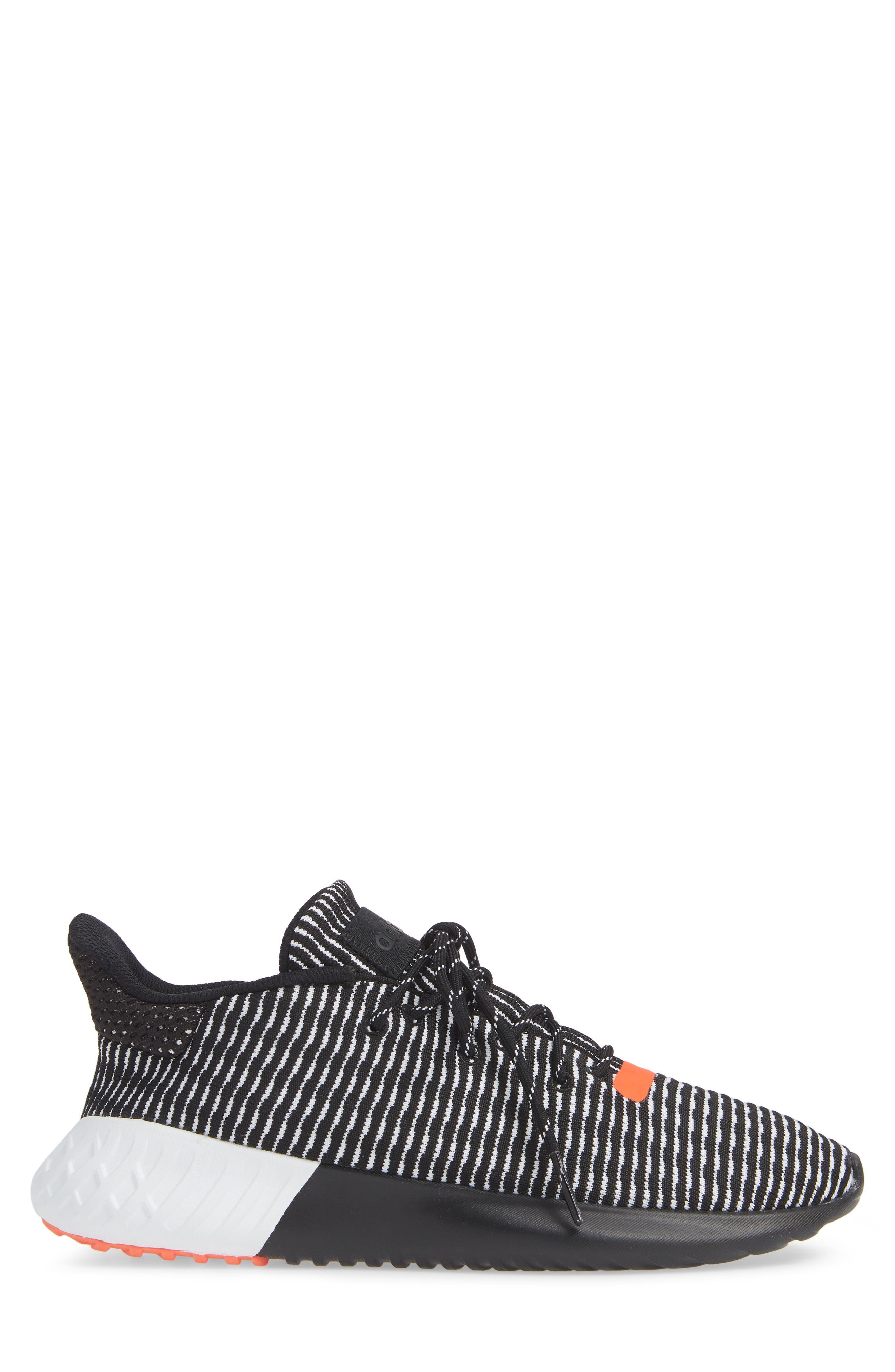 Tubular Dusk Primeknit Sneaker,                             Alternate thumbnail 3, color,                             BLACK/ WHITE/ SOLAR RED