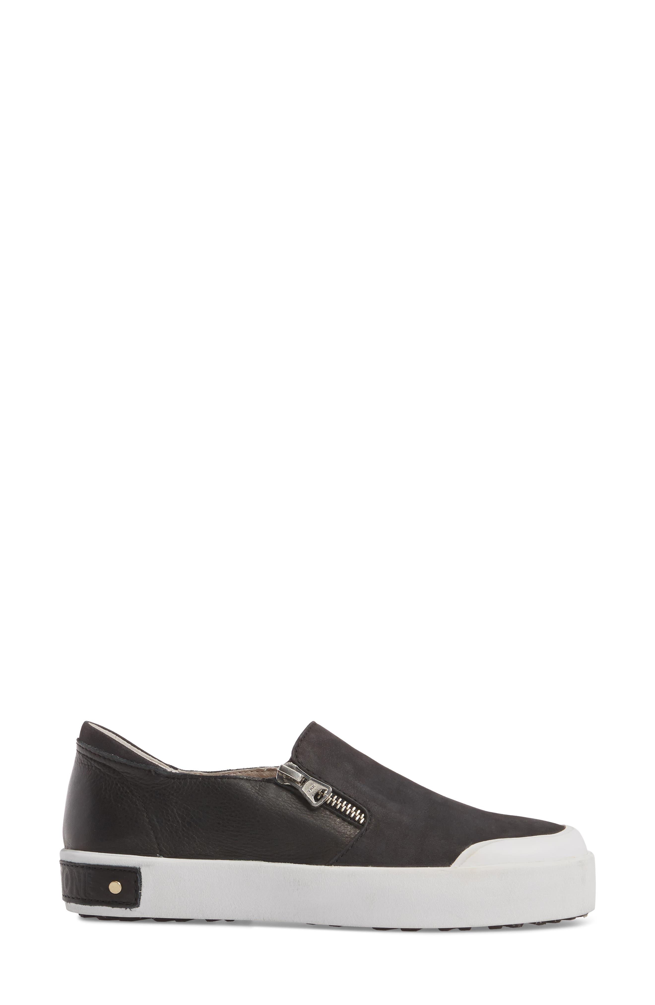 PL82 Slip-On Sneaker,                             Alternate thumbnail 3, color,                             BLACK LEATHER