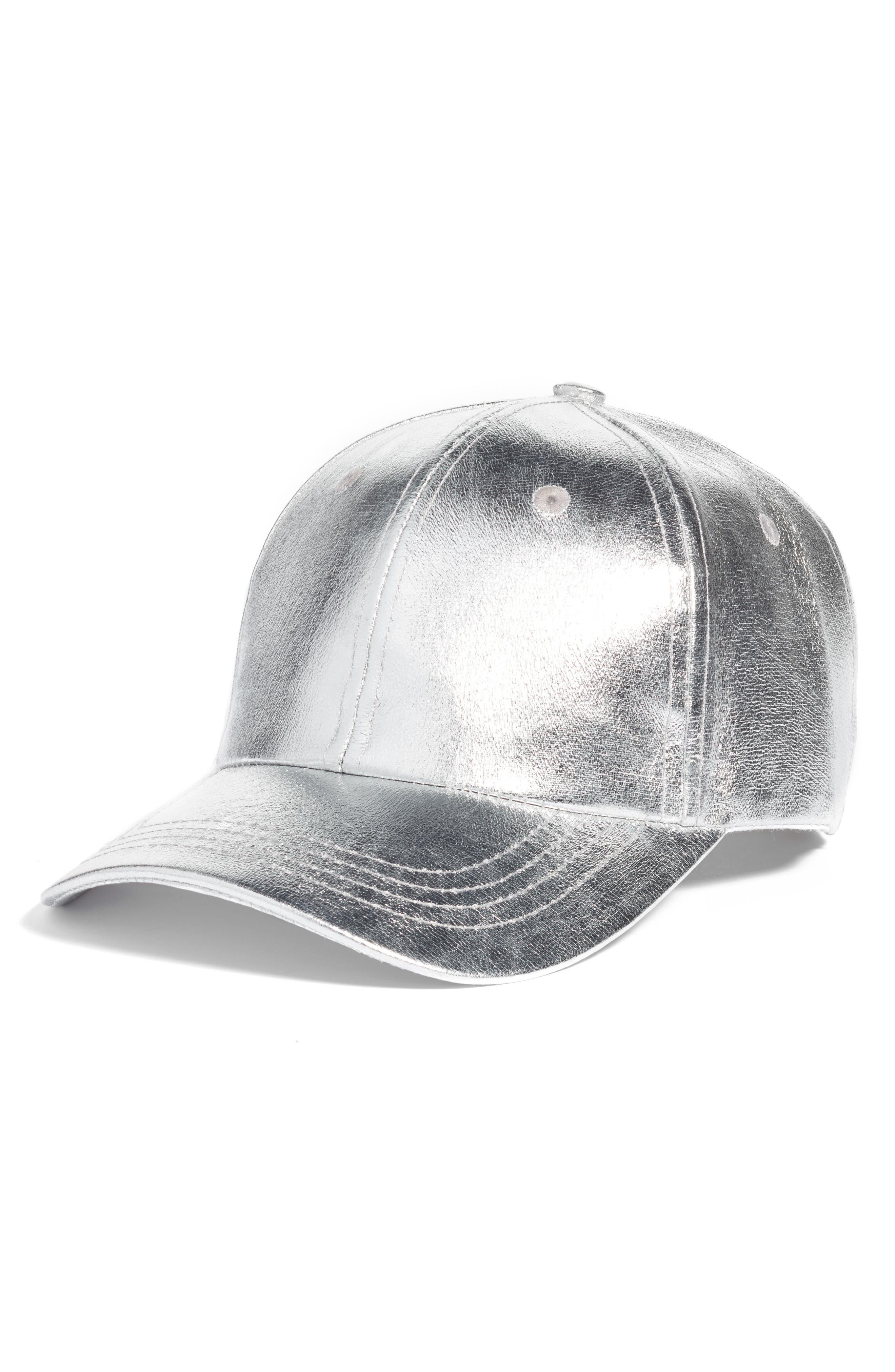 Crackled Metallic Baseball Cap,                             Main thumbnail 1, color,