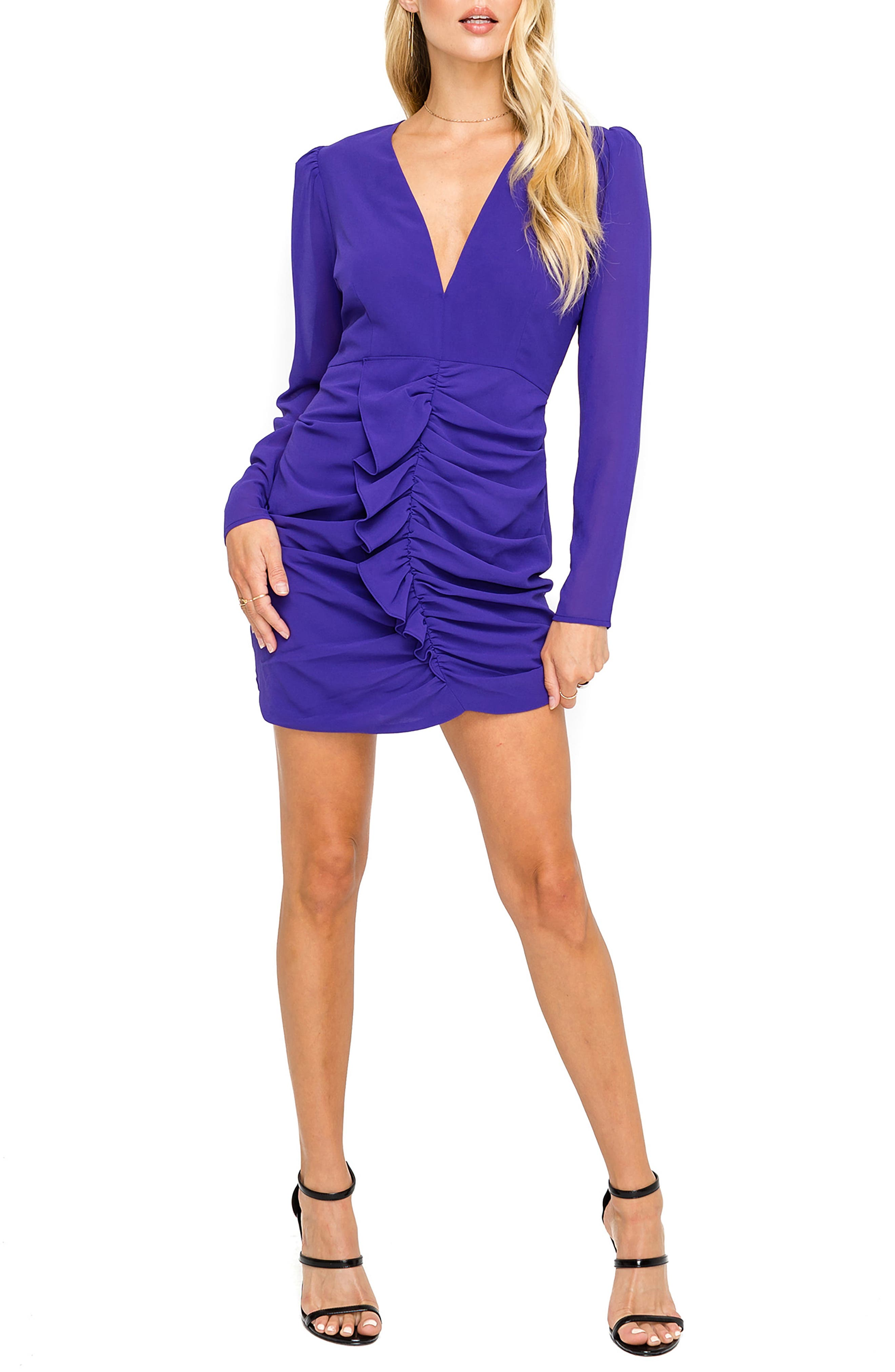 Astr The Label Ruffle Dress, Purple