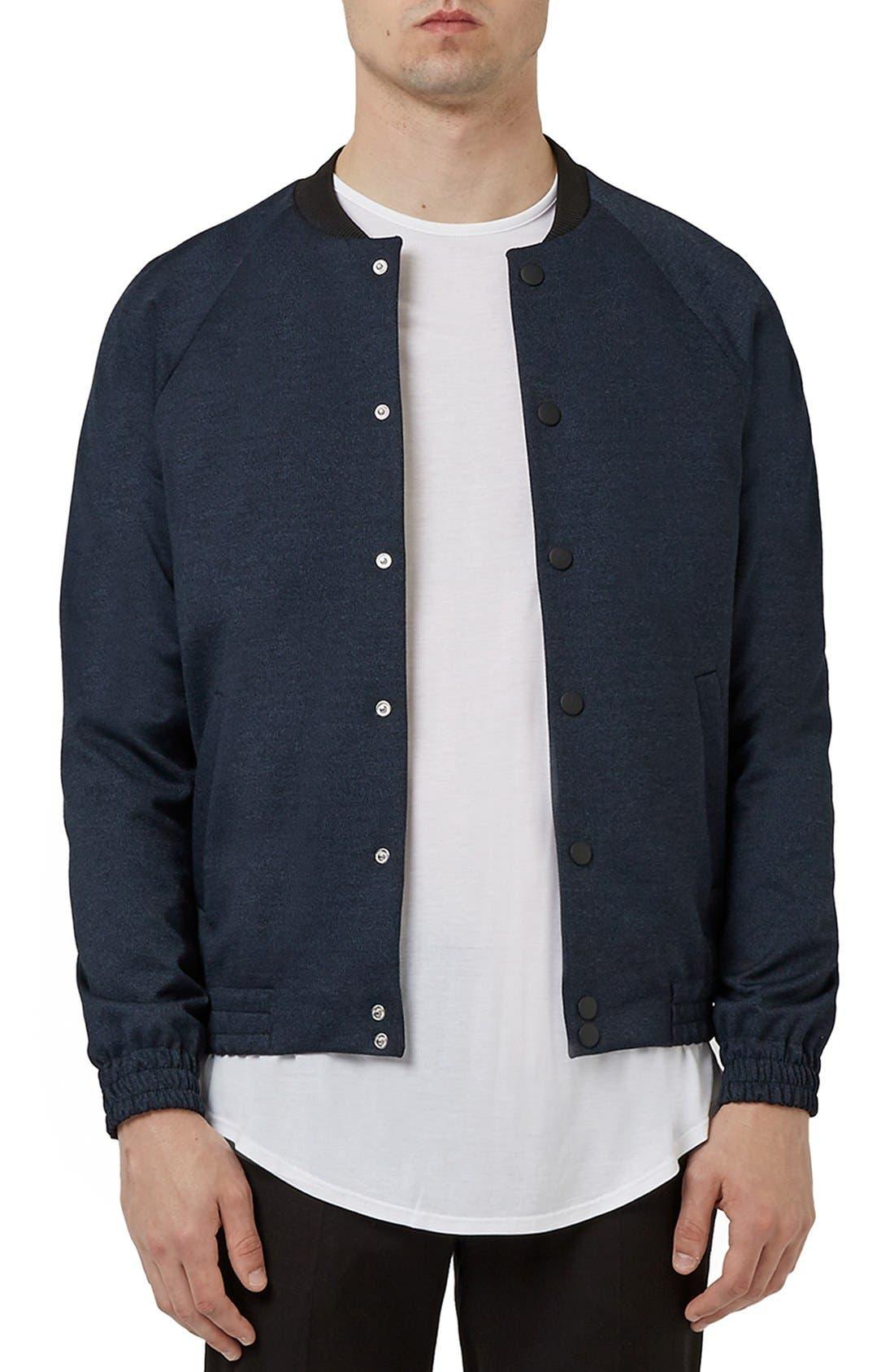 TOPMAN Tailored Fit Raglan Bomber Jacket, Main, color, 410