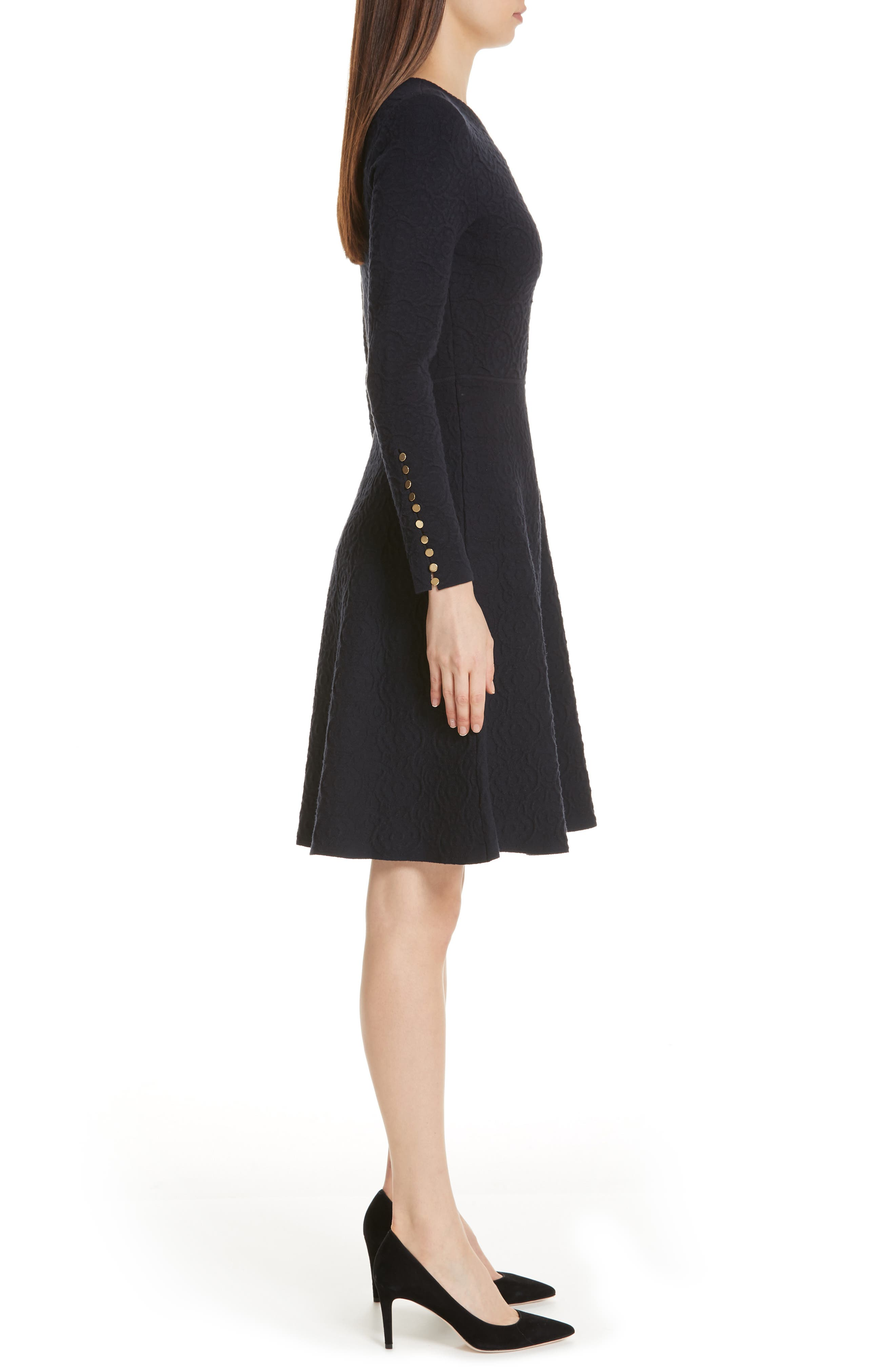 Textured Jacquard Knit Fit & Flare Dress,                             Alternate thumbnail 3, color,                             NAVY