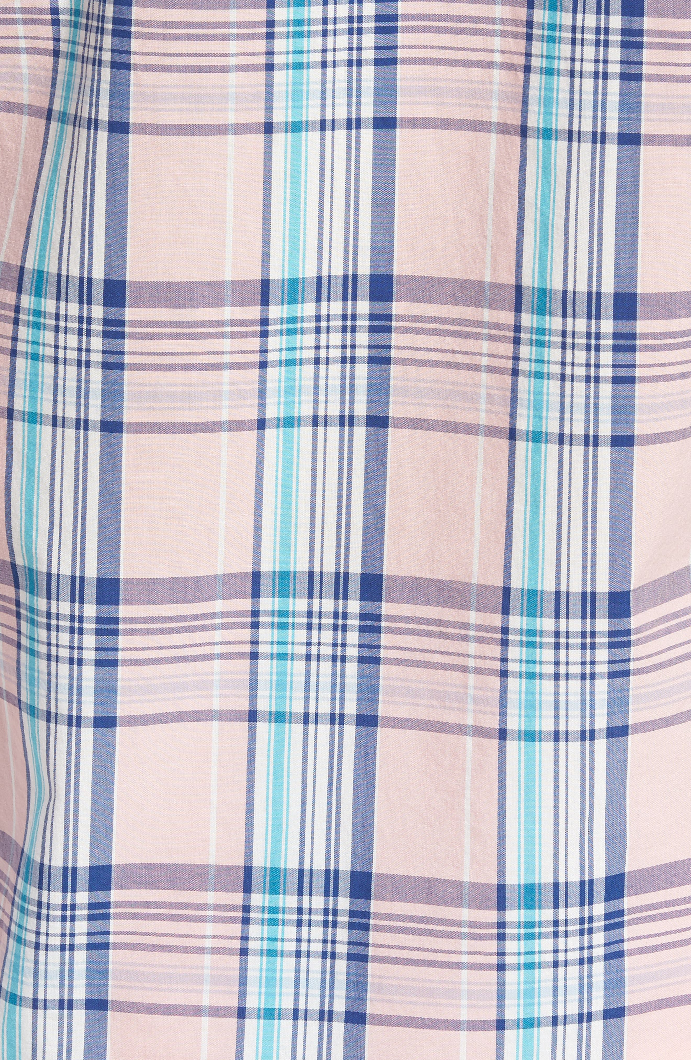 Slim Fit Summerweight Plaid Sport Shirt,                             Alternate thumbnail 5, color,                             650