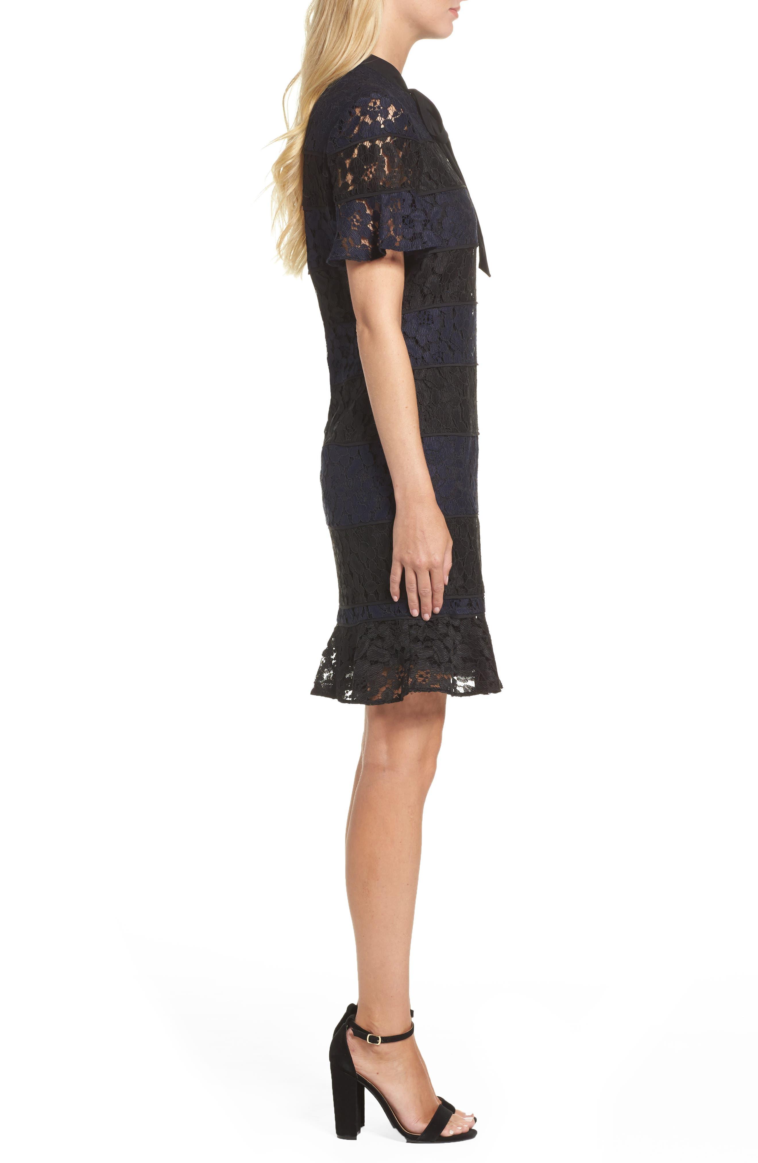 Lace Fit & Flare Dress,                             Alternate thumbnail 3, color,                             010