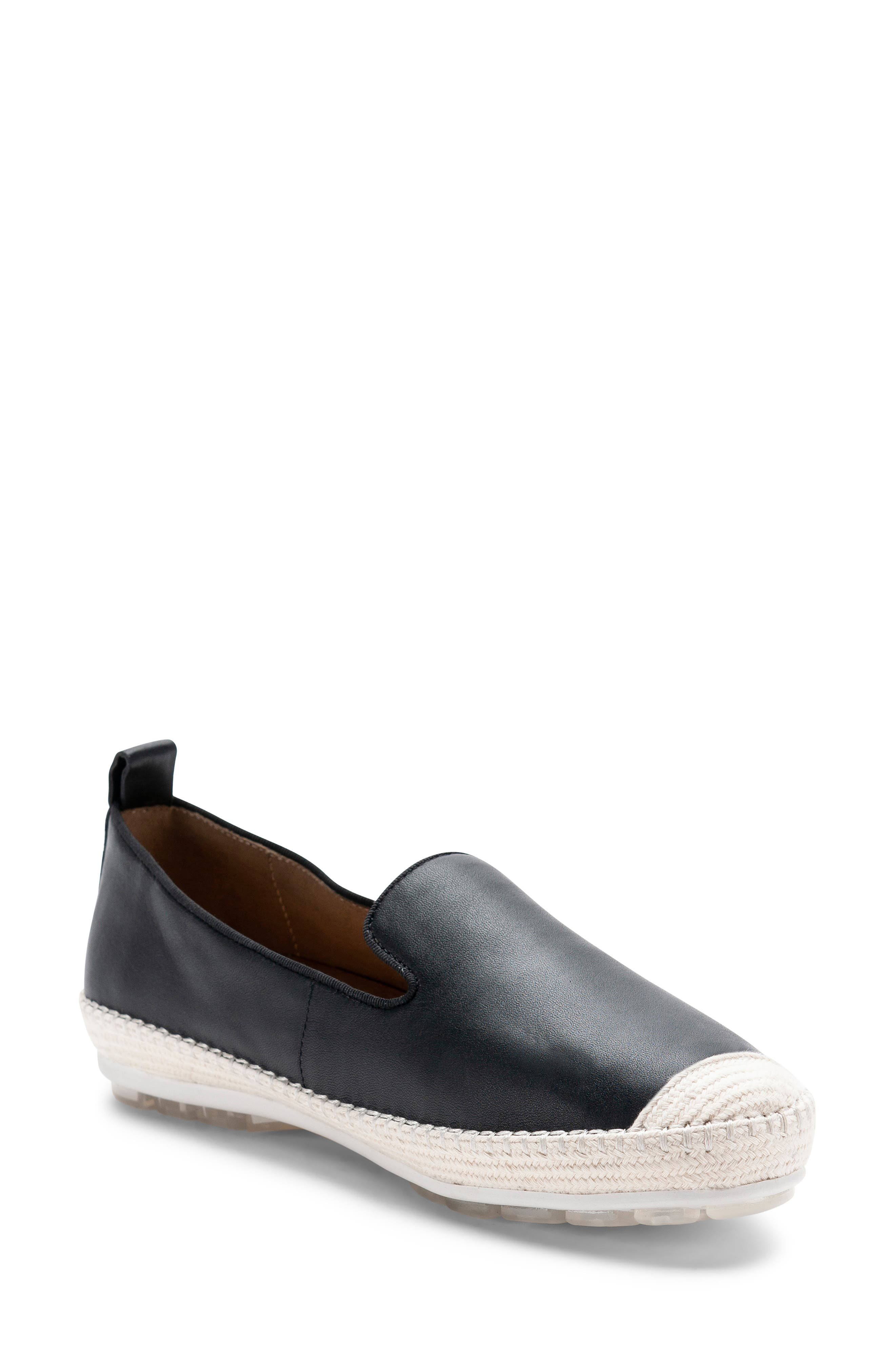 Bella Waterproof Espadrille Flat,                             Main thumbnail 1, color,                             BLACK LEATHER
