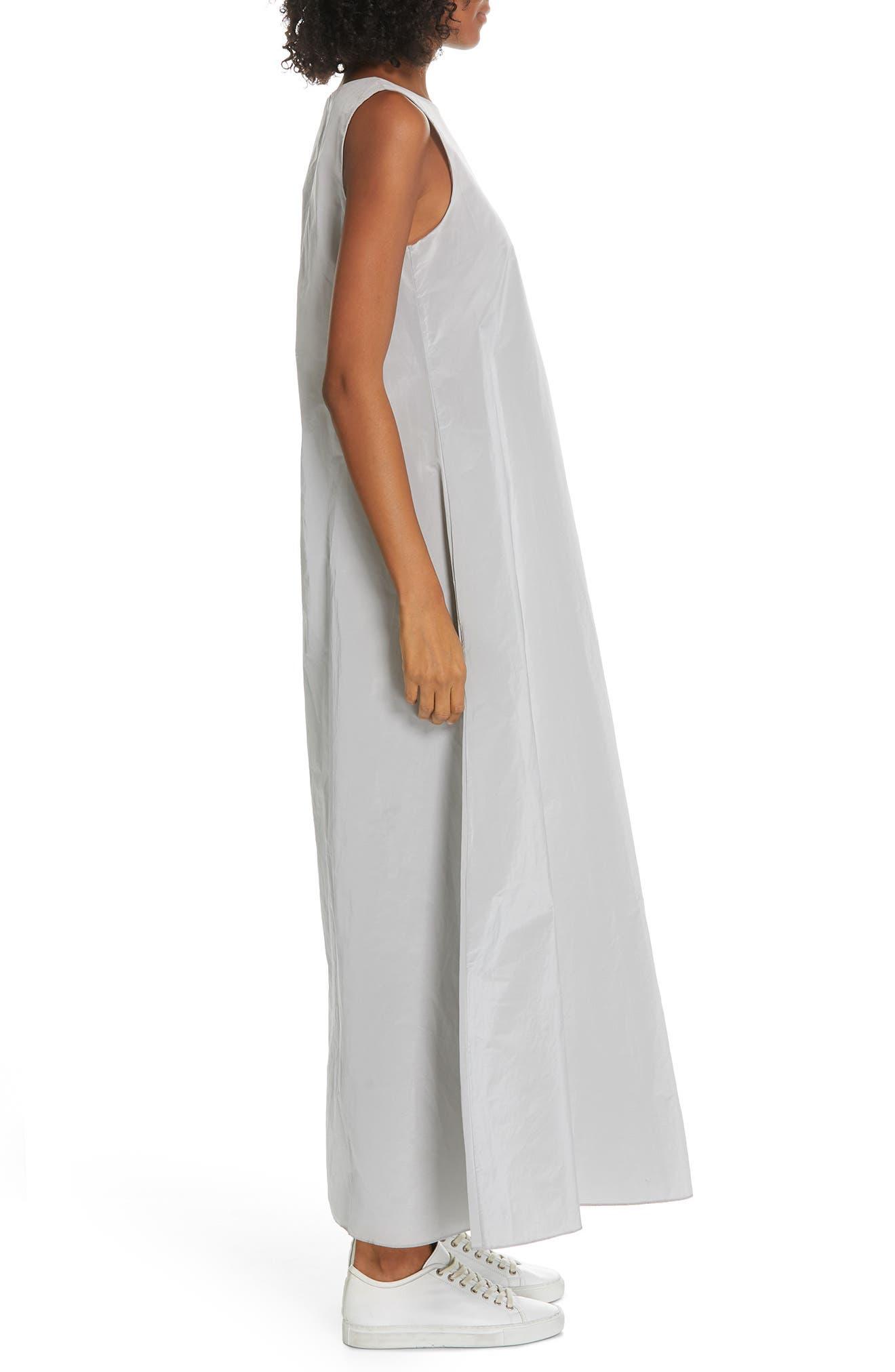 Sleeveless A-Line Maxi Dress,                             Alternate thumbnail 3, color,                             SILVER ICE