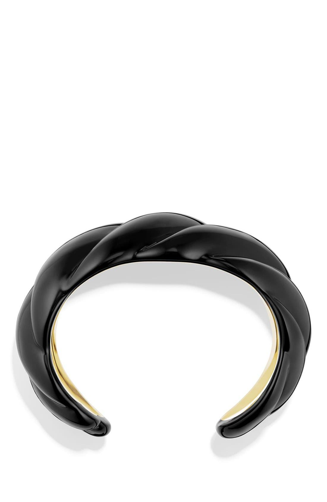 'Sculpted Cable' Resin Cuff Bracelet with 18k Gold,                             Alternate thumbnail 2, color,                             YELLOW GOLD/ BLACK
