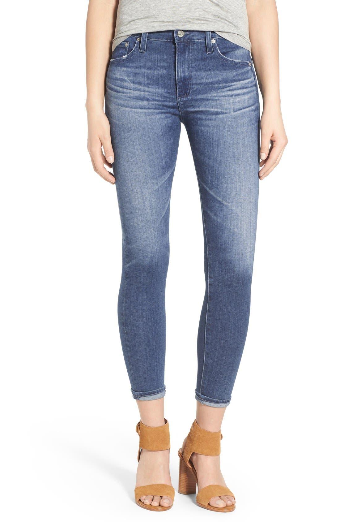 AG 'The Farrah' High Rise Crop Skinny Jeans, Main, color, 400