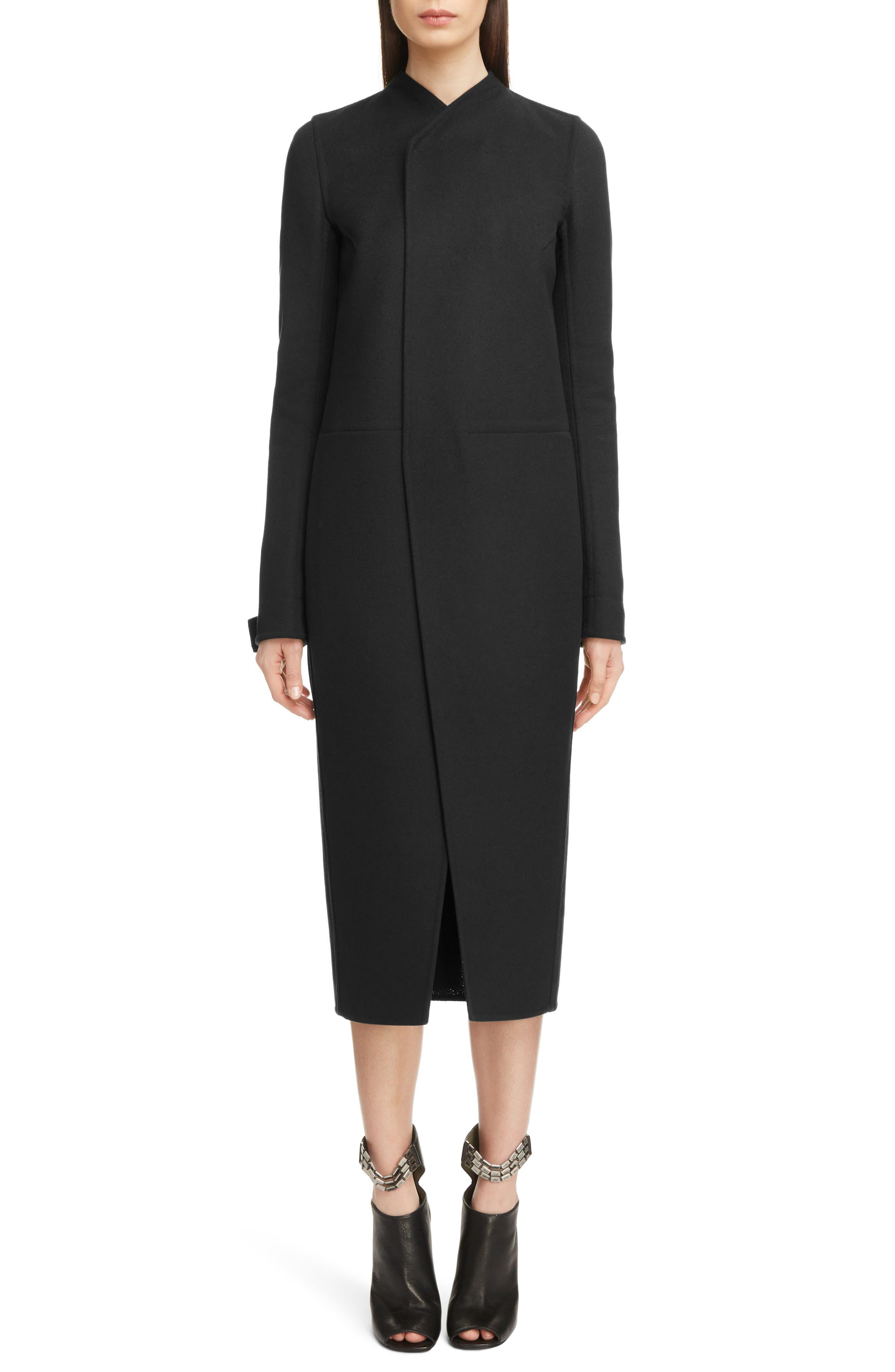 Double Face Wool Blend Coat,                         Main,                         color, BLACK