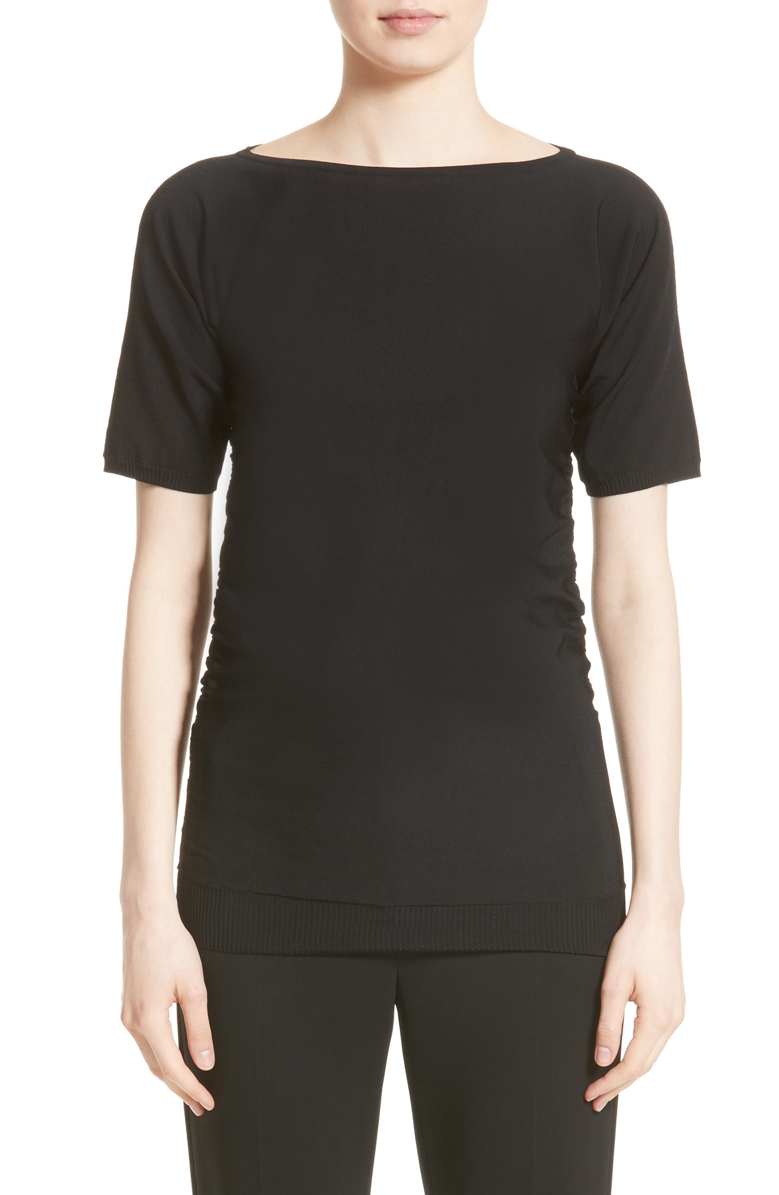 Joice Ruched Knit Top,                         Main,                         color, 001