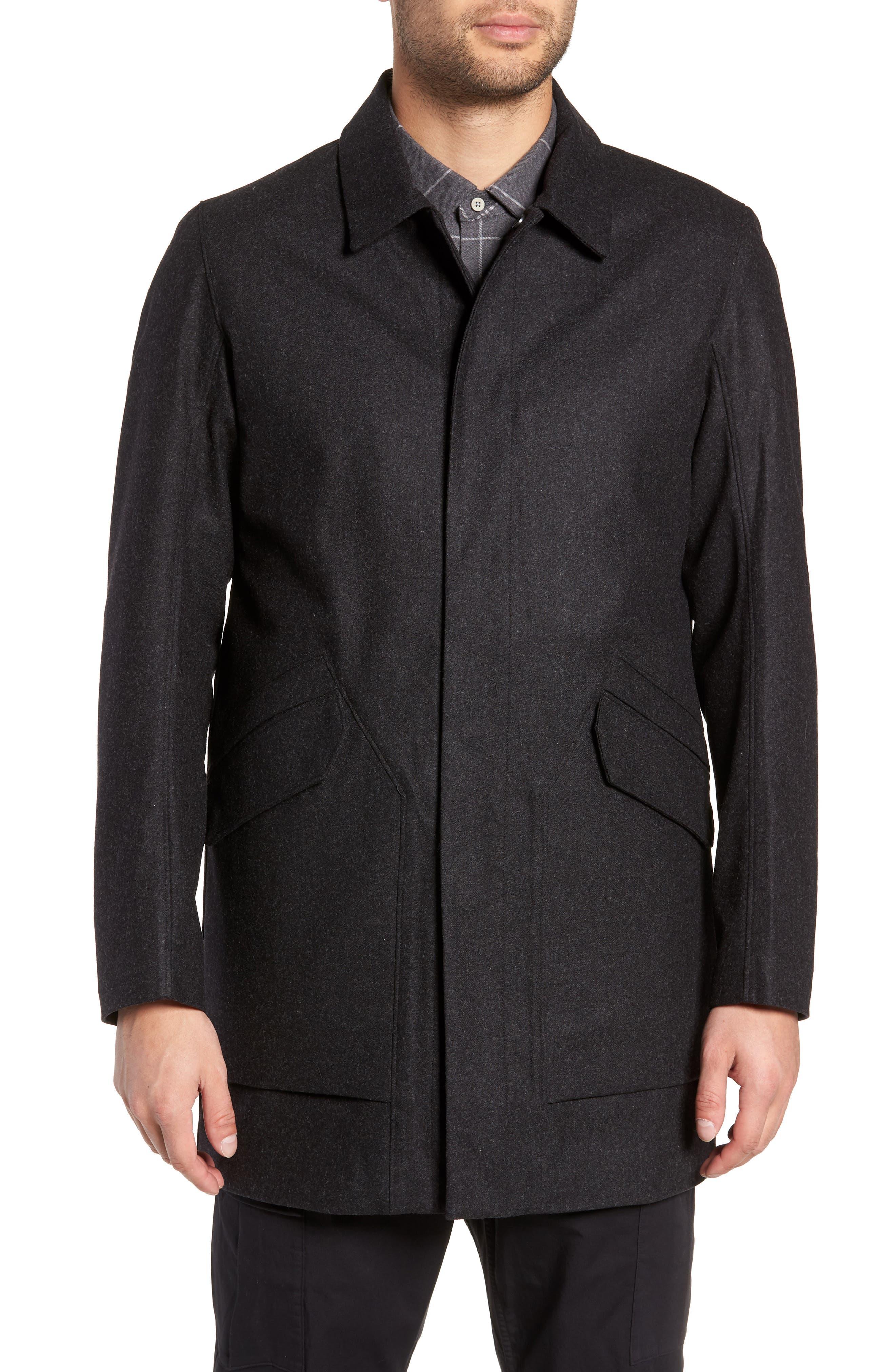 Tech Merino Wool Blend Mac Coat,                             Alternate thumbnail 4, color,                             MEDIUM BLACK