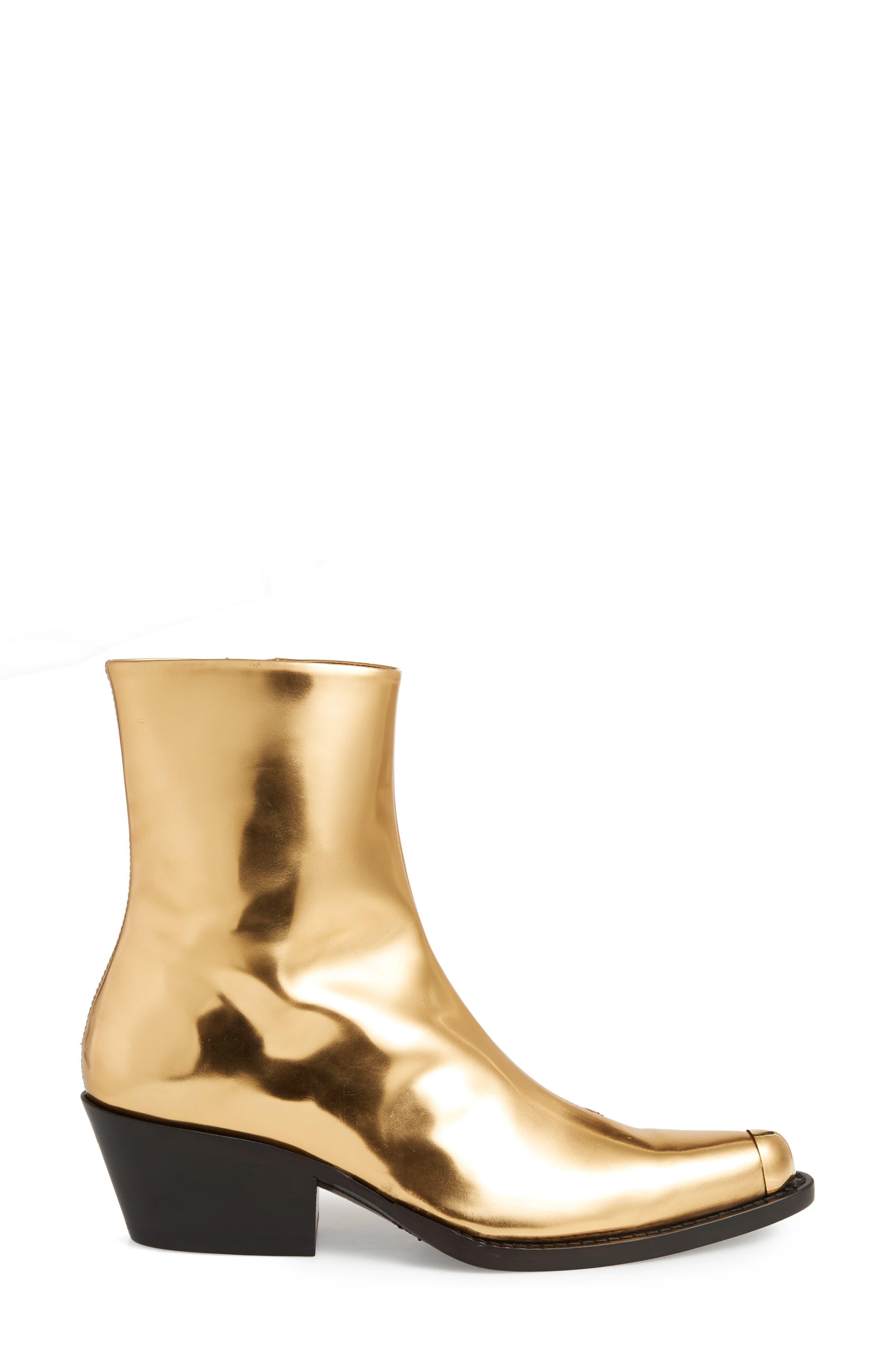 Tex Tarrana Metallic Bootie,                             Alternate thumbnail 3, color,                             GOLD
