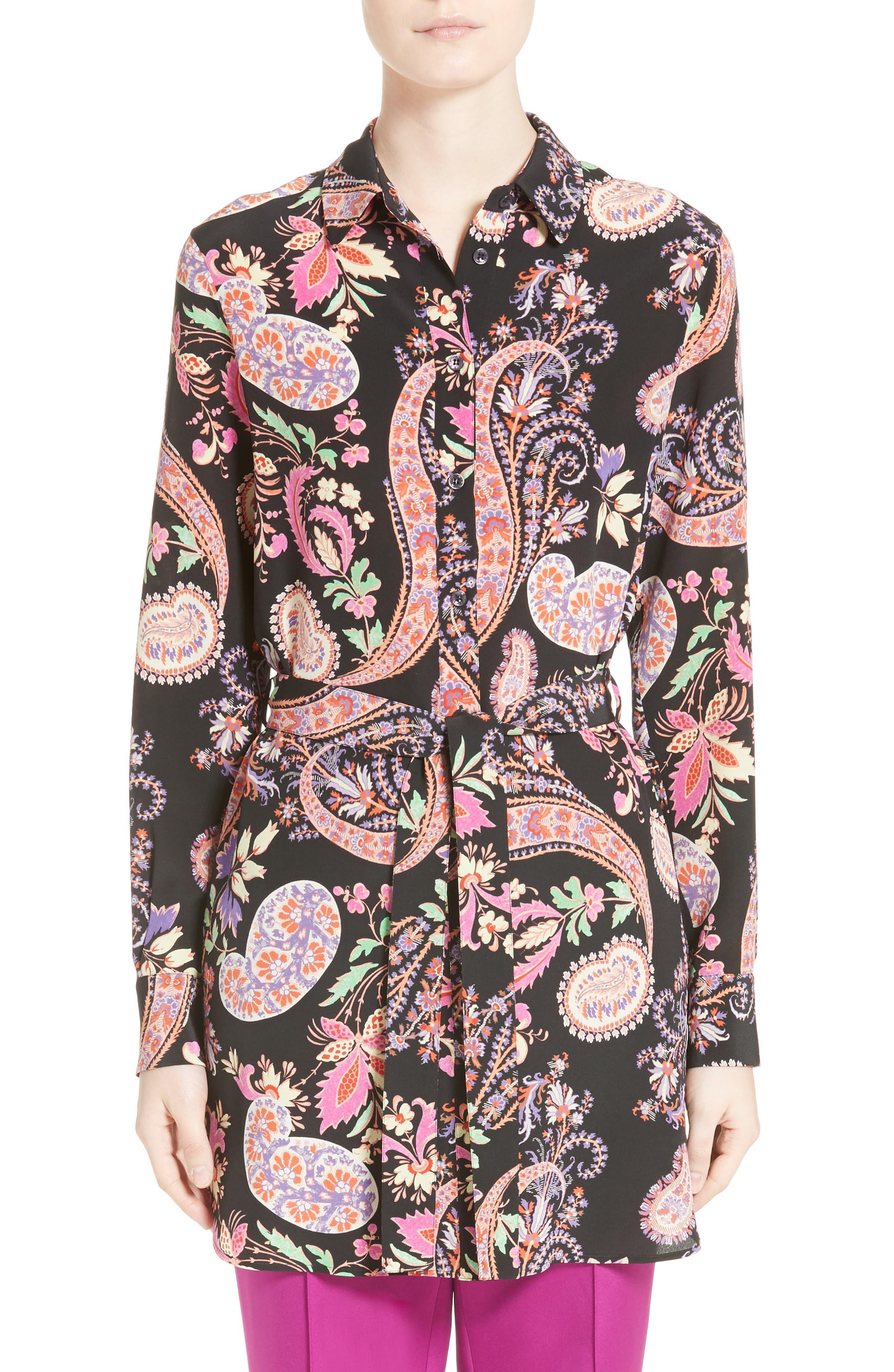 Floral Paisley Print Silk Tunic,                             Main thumbnail 1, color,
