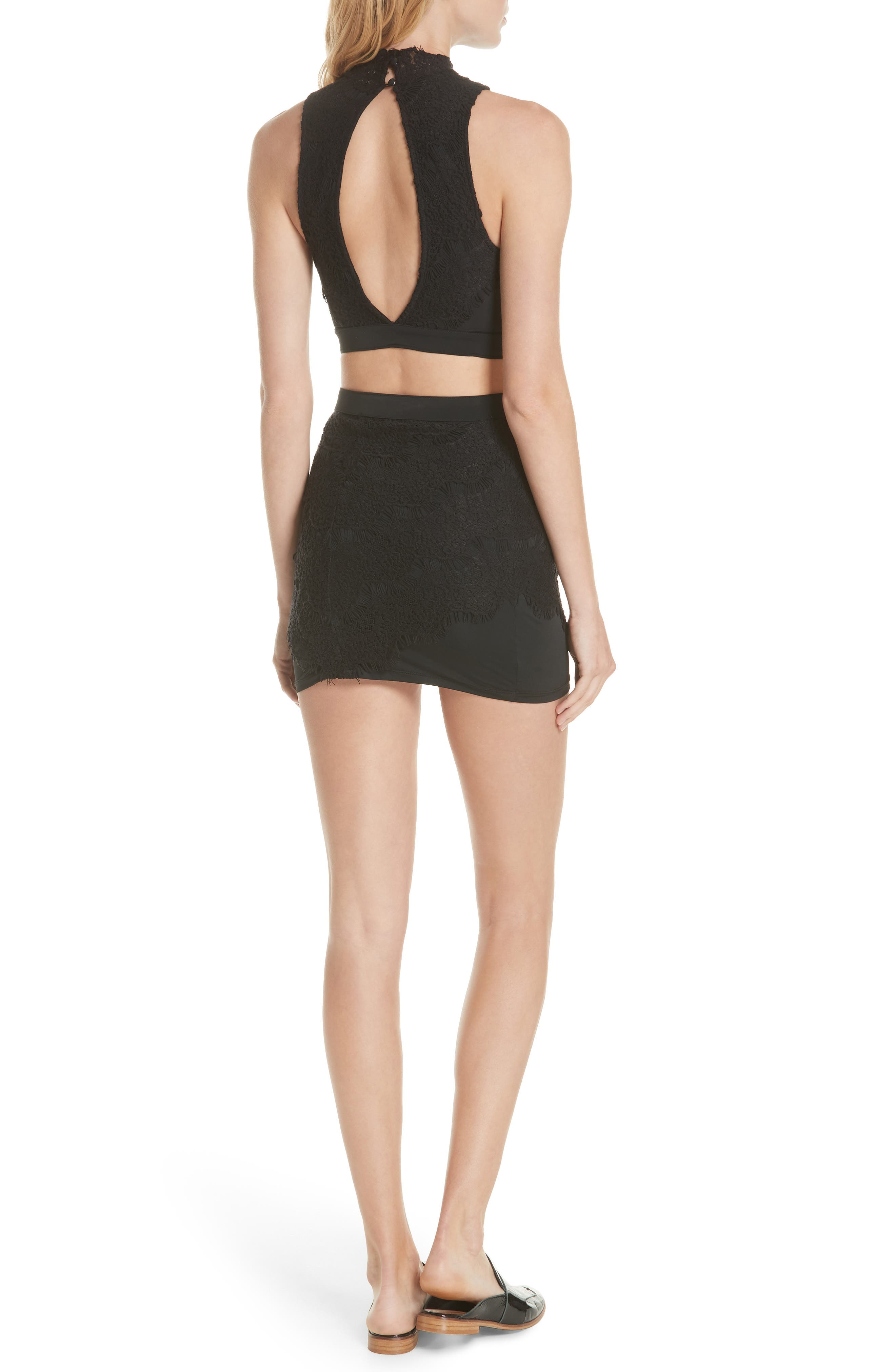 Sabina Crop Top & Skirt,                             Alternate thumbnail 2, color,                             BLACK