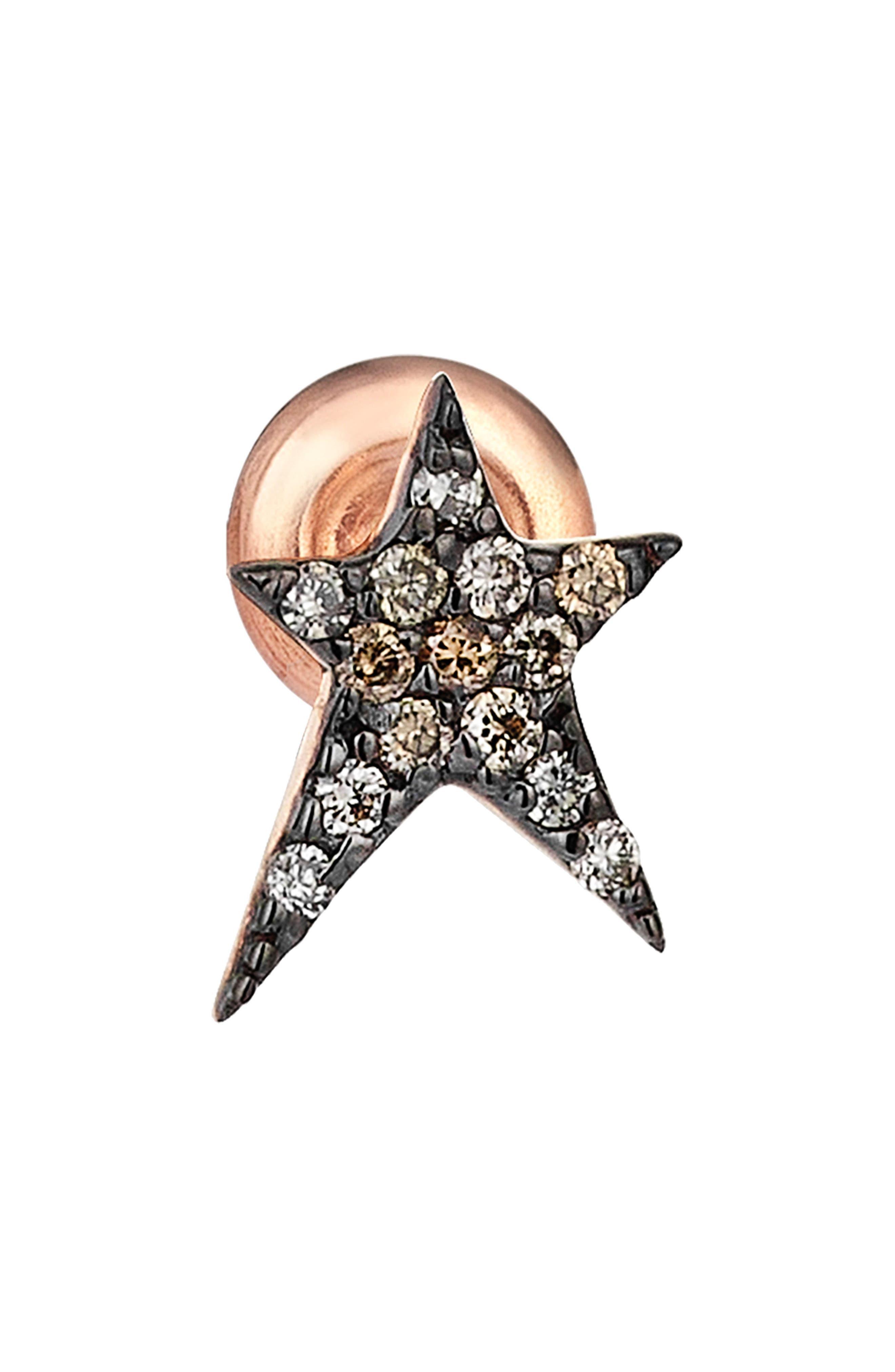 Diamond Stud Earring,                         Main,                         color, ROSE GOLD