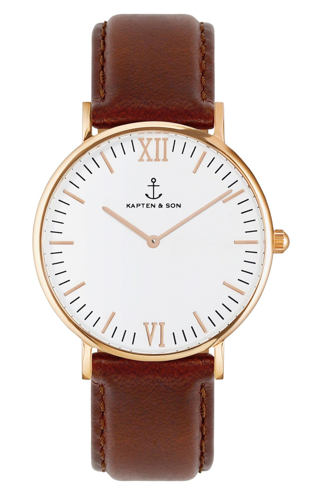 Campus Leather Strap Watch, 40mm,                         Main,                         color, BROWN/ WHITE/ ROSEGOLD