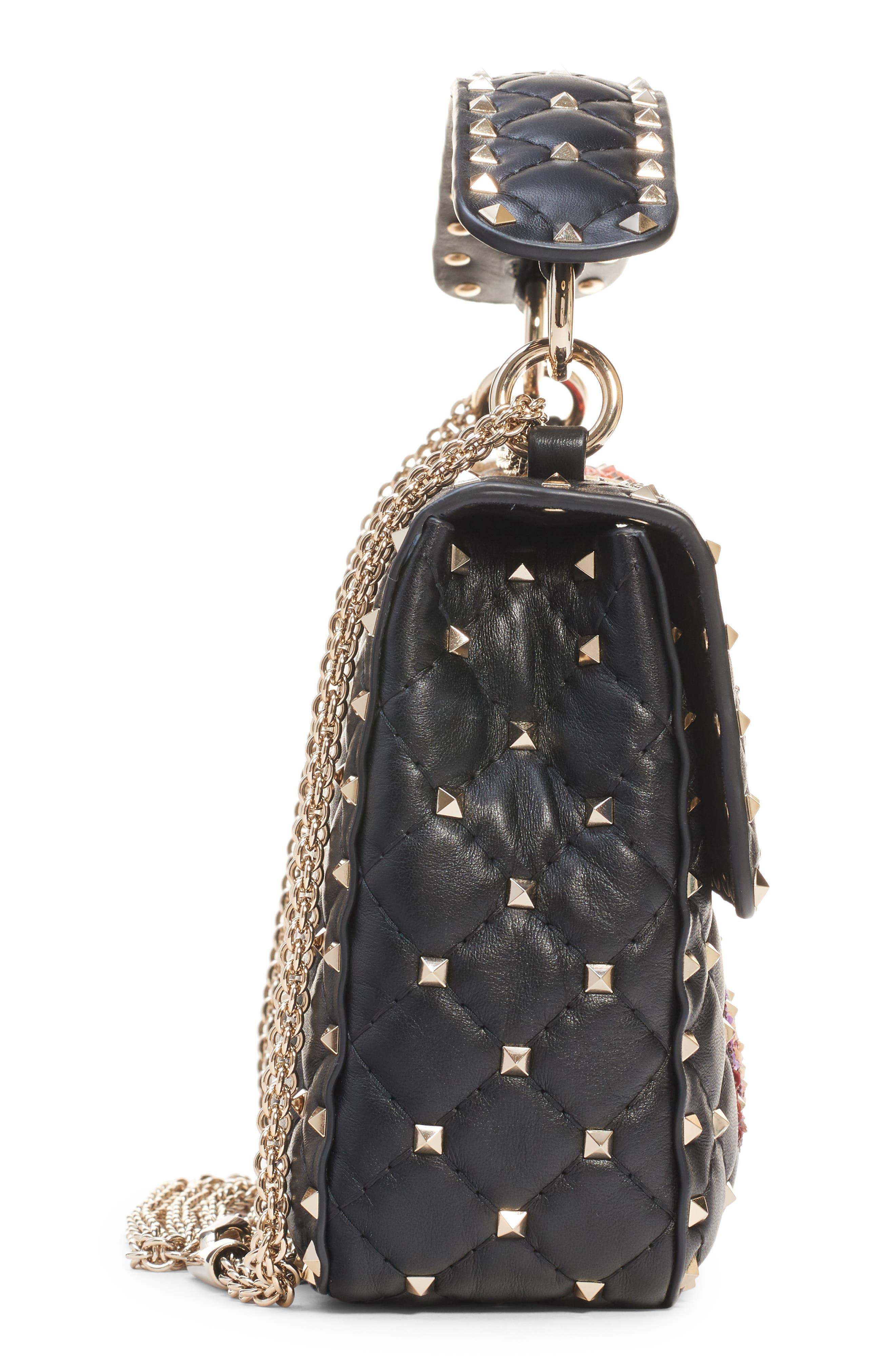 Medium Spike.It Beaded Leather Shoulder Bag,                             Alternate thumbnail 4, color,                             NERO