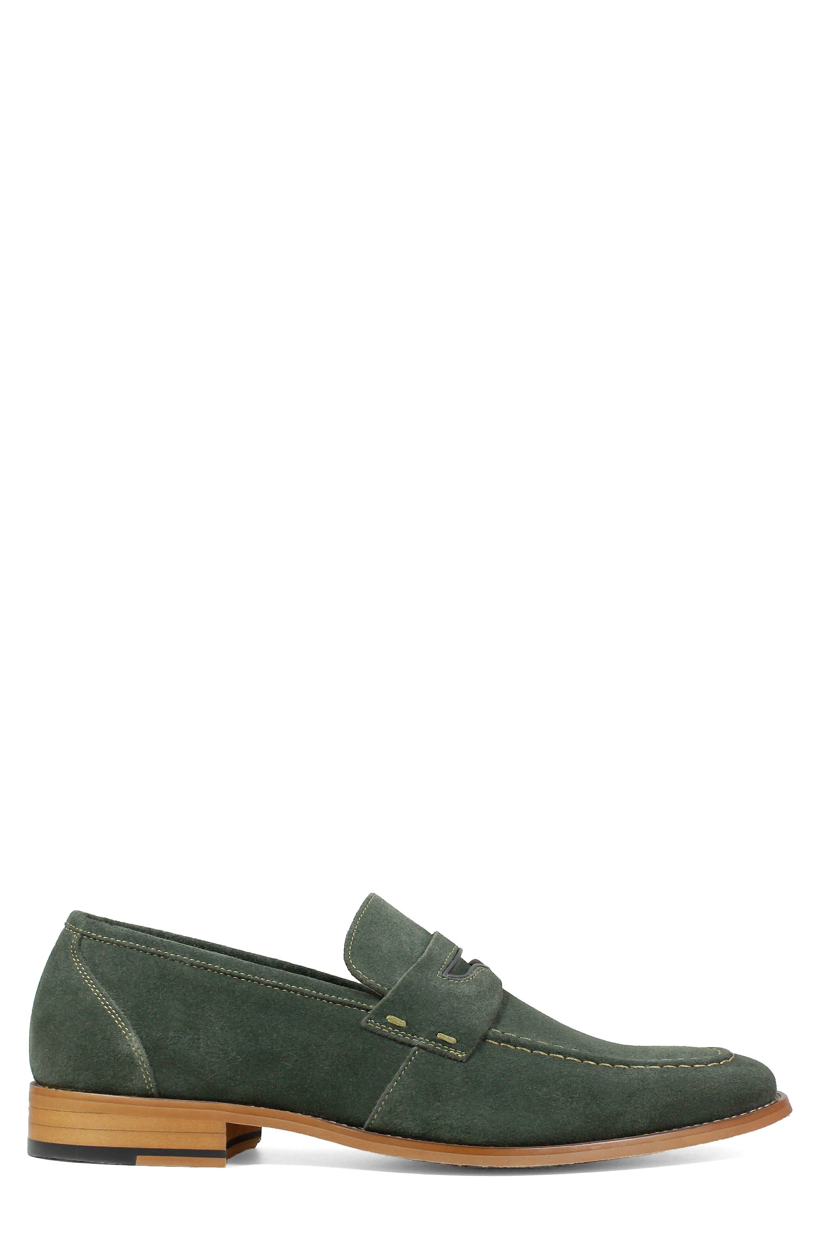 Colfax Apron Toe Penny Loafer,                             Alternate thumbnail 3, color,                             DARK GREEN SUEDE