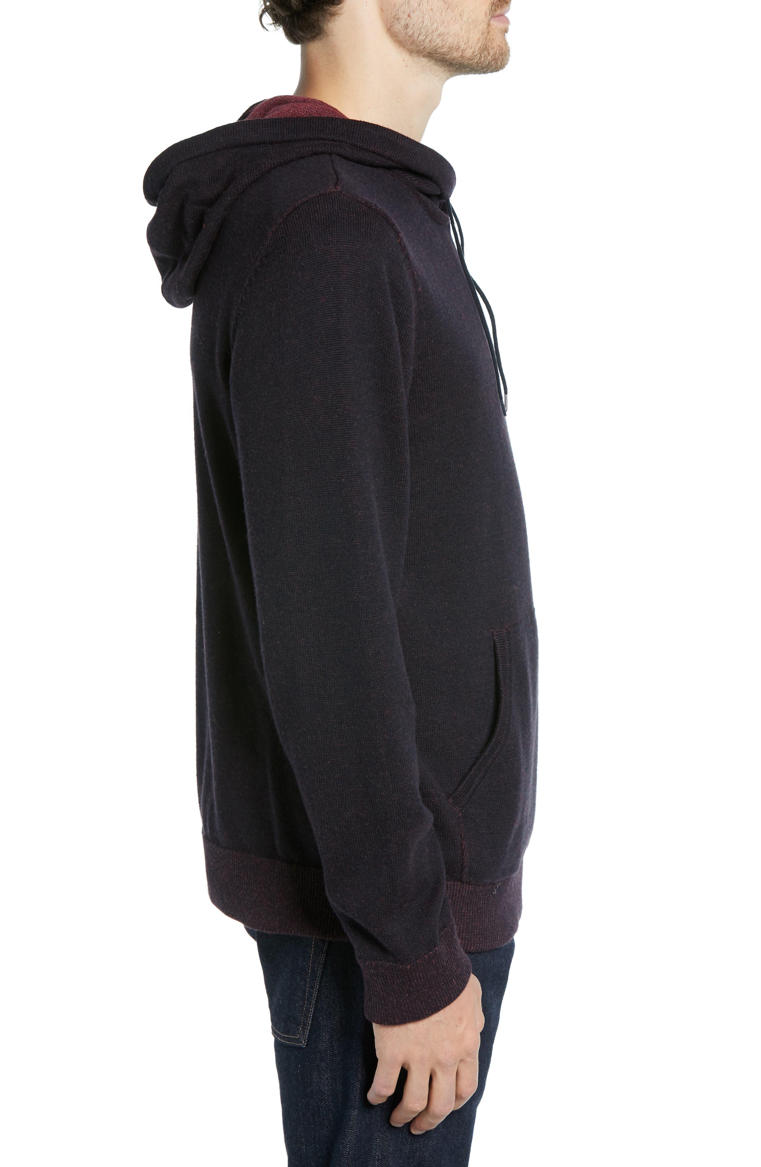 Regular Fit Cotton & Cashmere Hoodie,                             Alternate thumbnail 3, color,                             BLACK CAVIAR