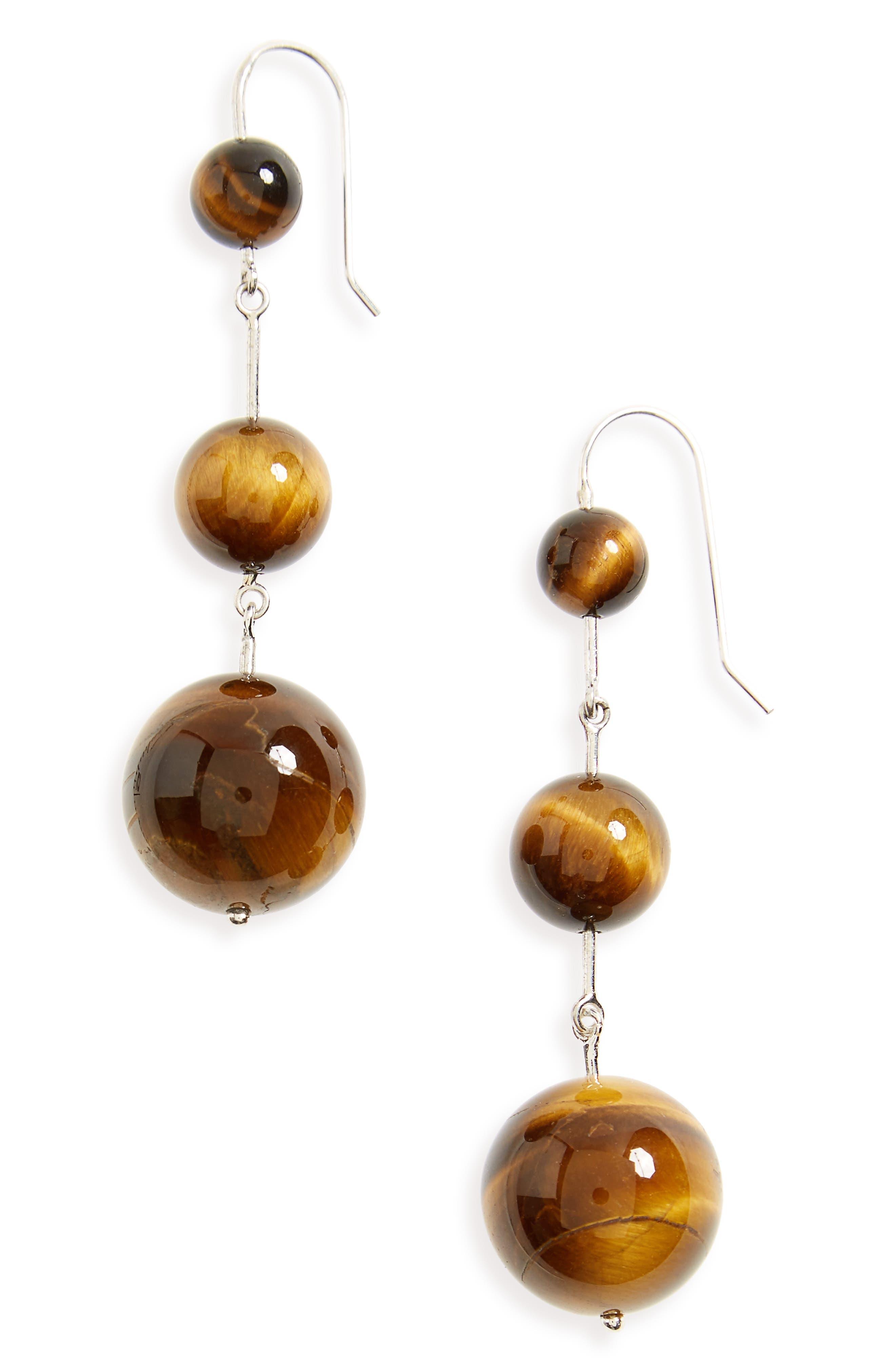 Sterling Silver & Tiger's Eye Drop Earrings,                             Main thumbnail 1, color,                             040