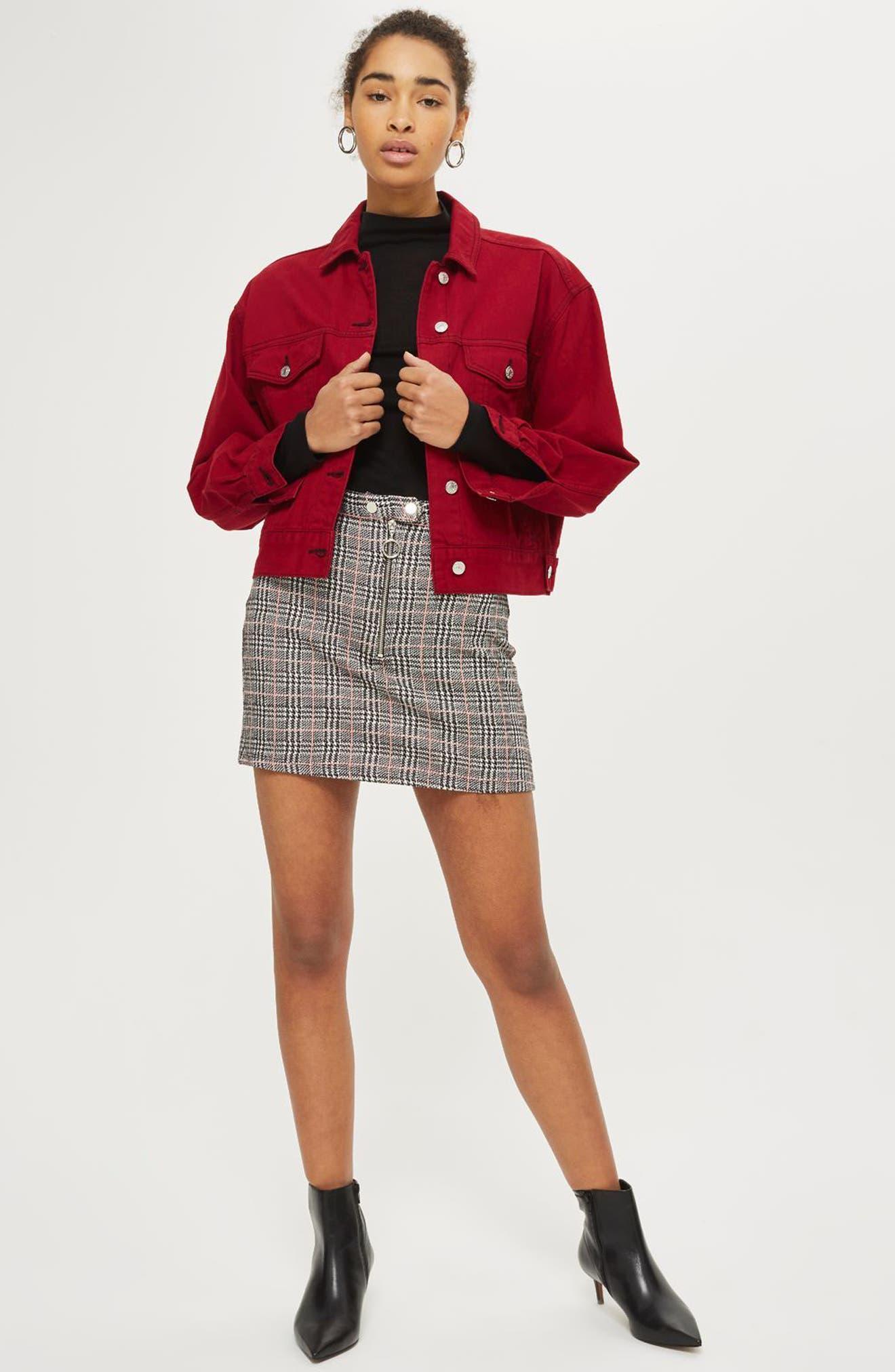 Zip Check Mini Skirt,                             Alternate thumbnail 4, color,                             020