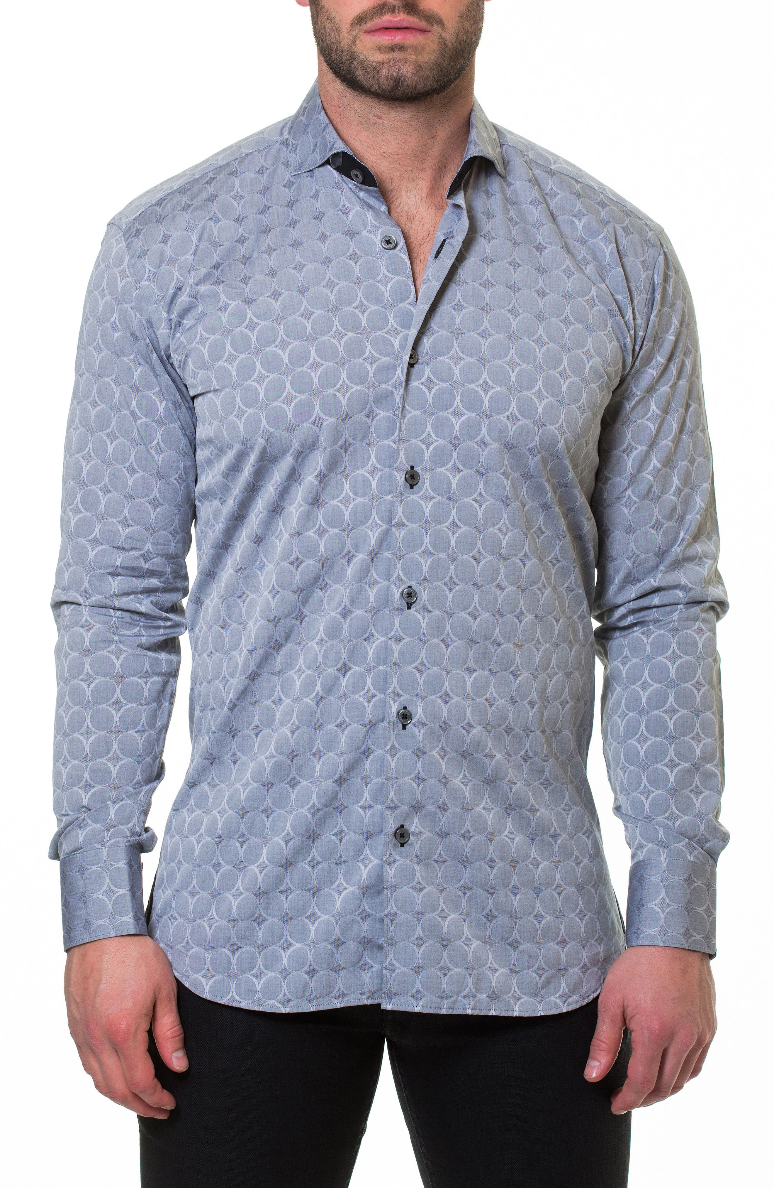 Wall Street Bond Grey Slim Fit Sport Shirt,                             Alternate thumbnail 4, color,                             030