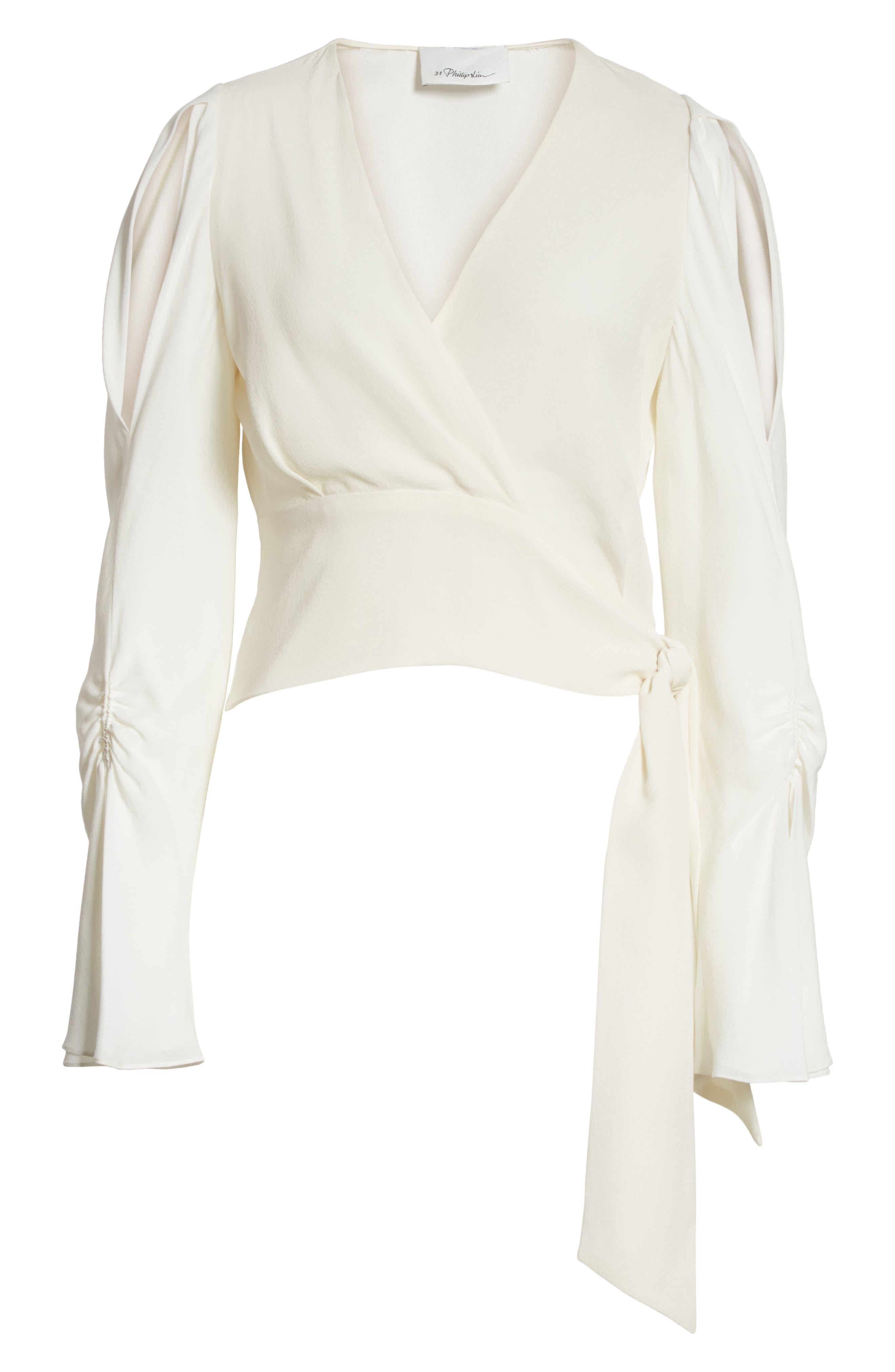 Slit Sleeve Silk Blouse,                             Alternate thumbnail 6, color,                             110
