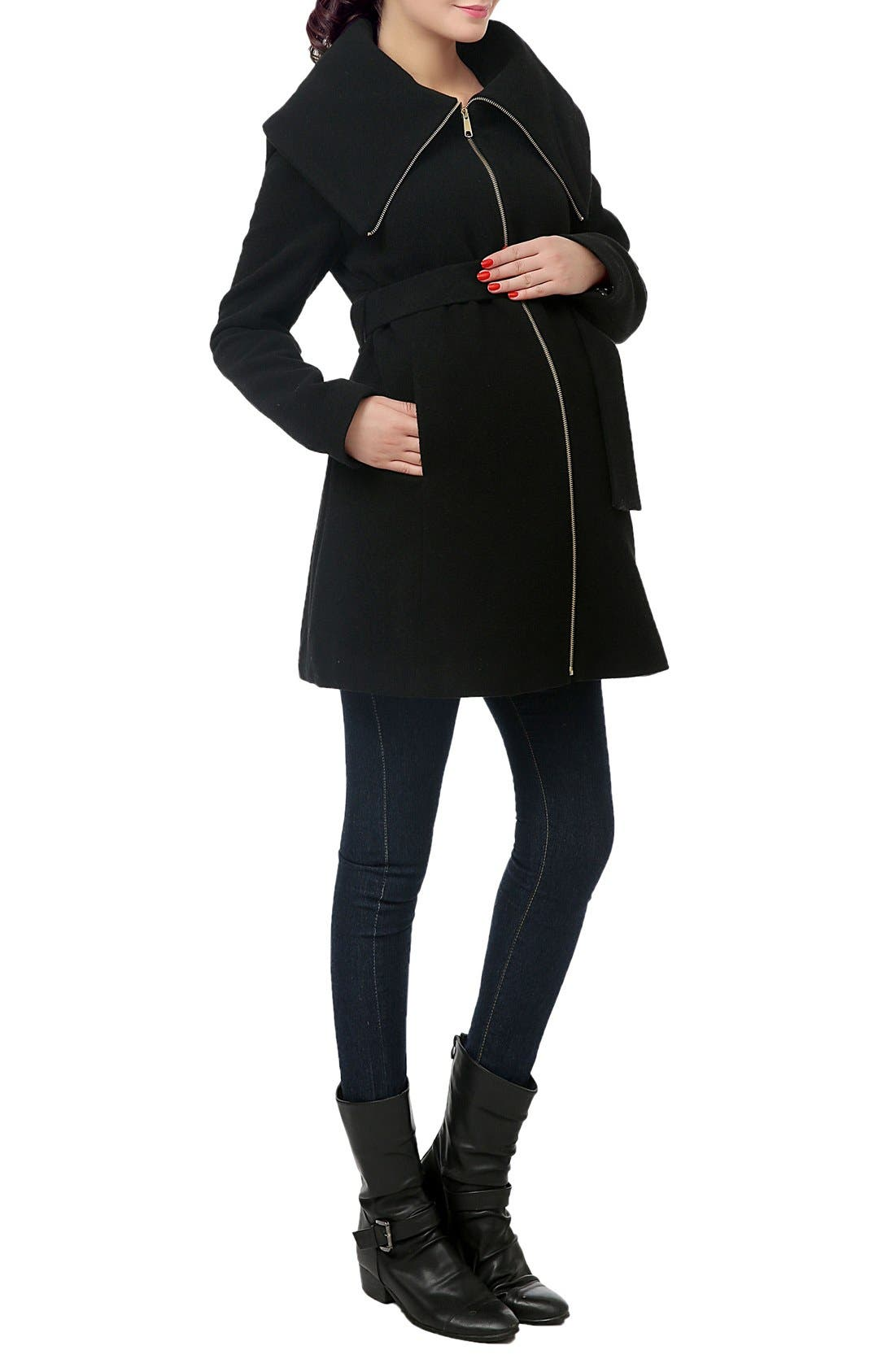 'Mia' High Collar Maternity Coat,                             Alternate thumbnail 3, color,                             BLACK