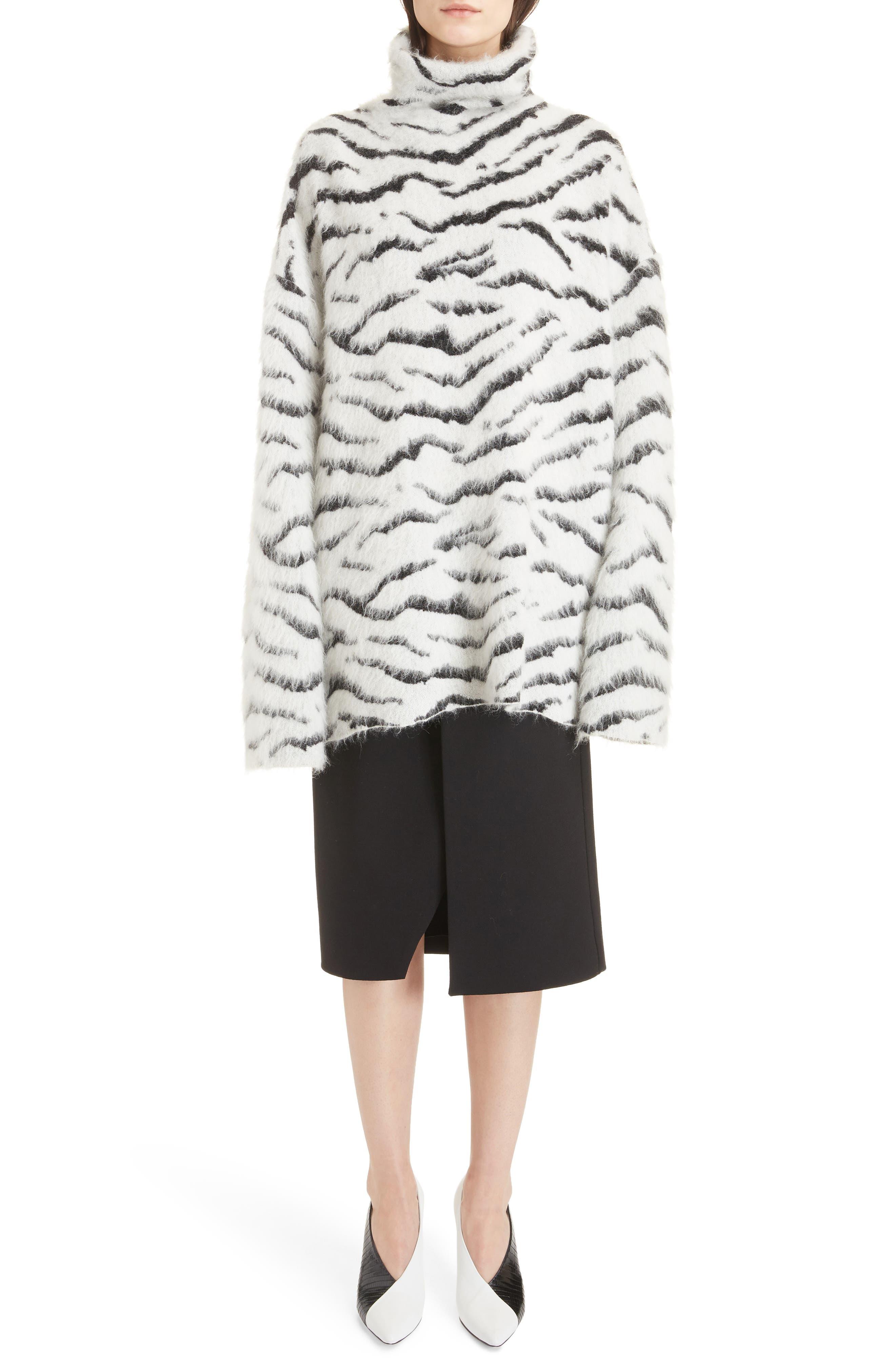 Zebra Stripe Mohair Blend Turtleneck Sweater,                             Alternate thumbnail 6, color,                             116