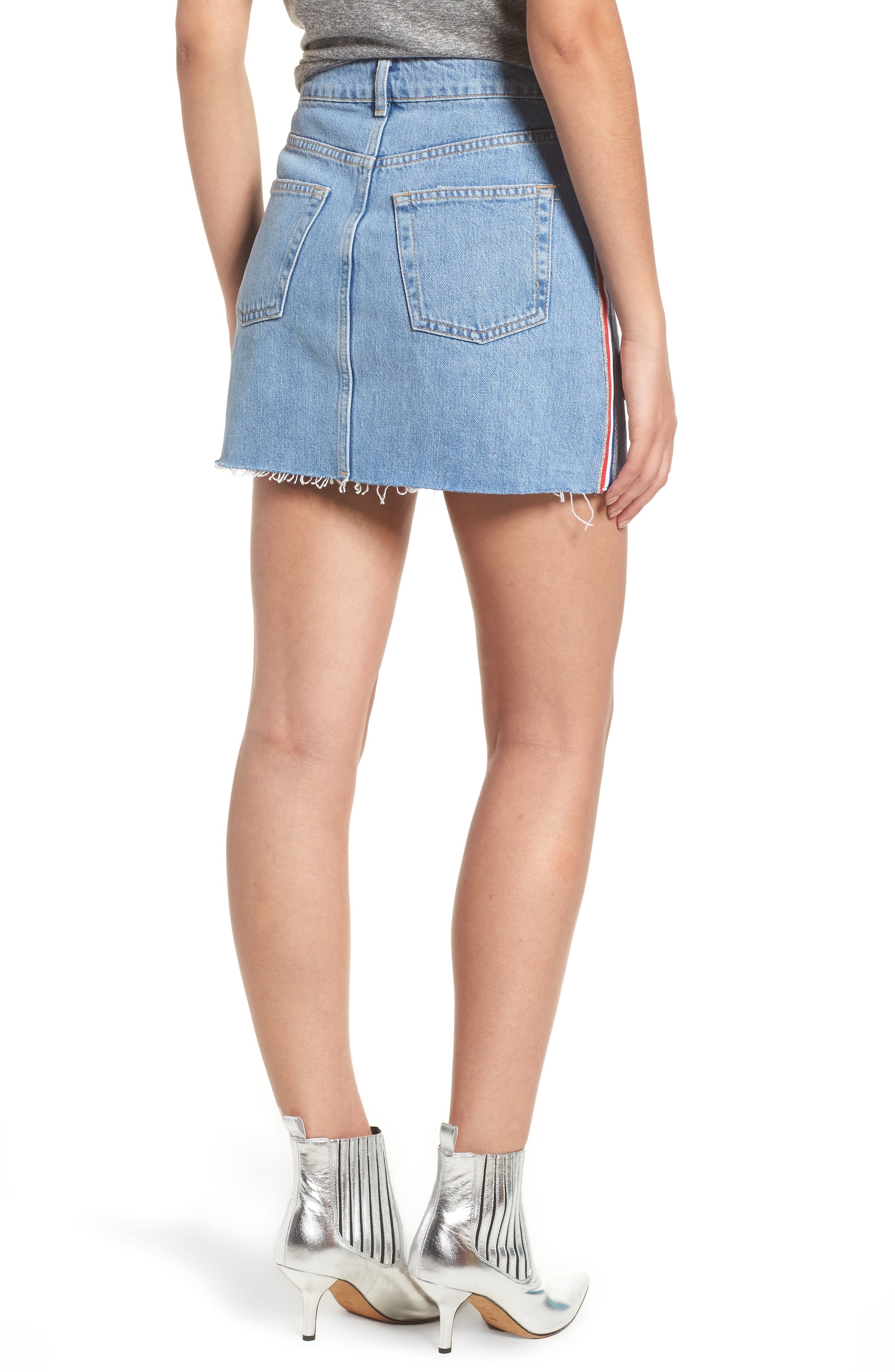 MOTO Stripe Denim Skirt,                             Alternate thumbnail 2, color,                             450