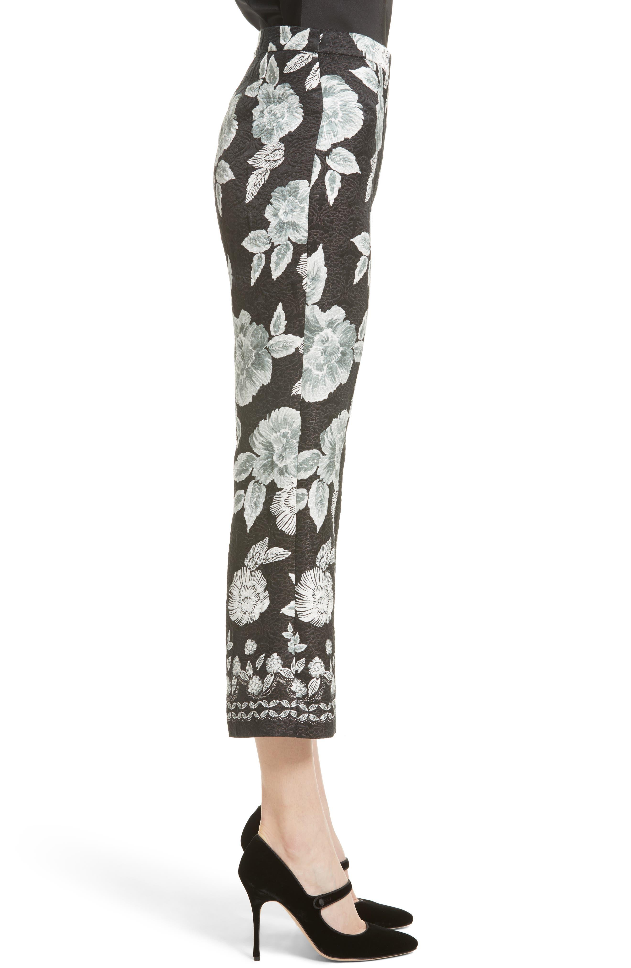 Textured Floral Print Capri Pants,                             Alternate thumbnail 3, color,                             001