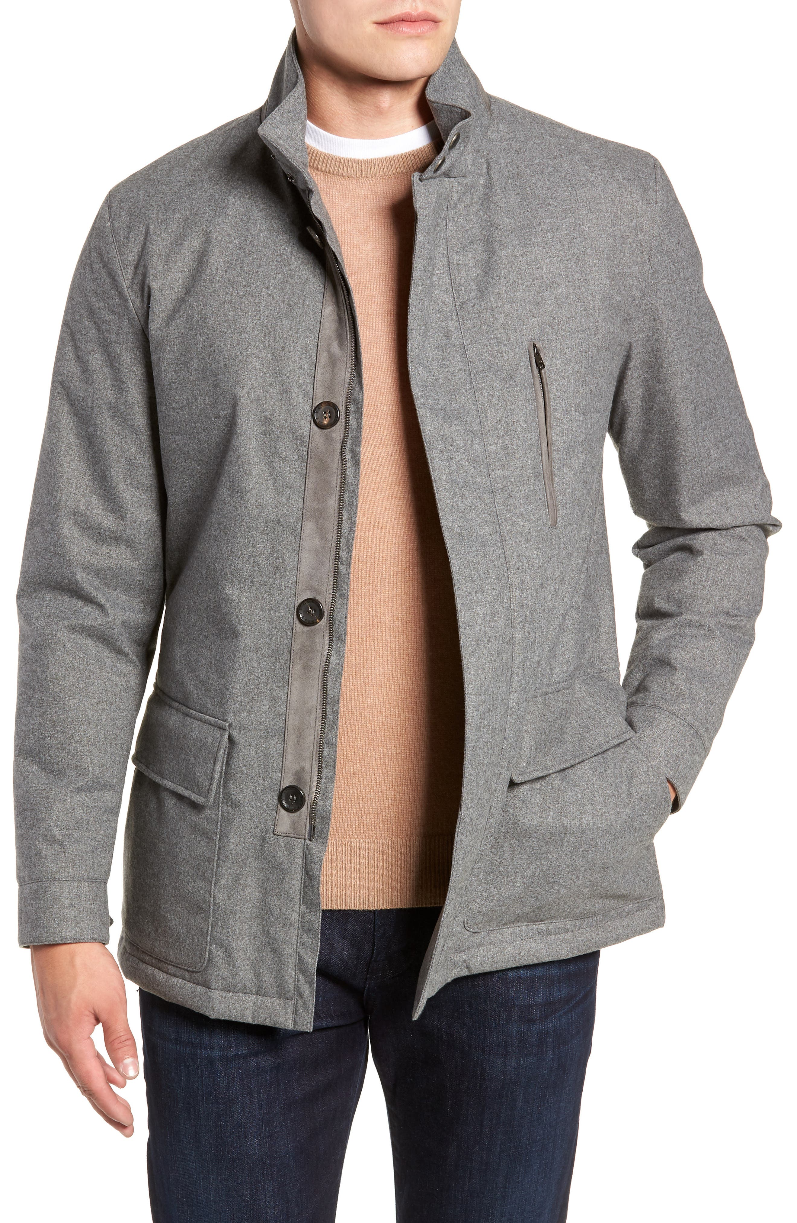 Stretch Flannel Jacket,                         Main,                         color, GREY