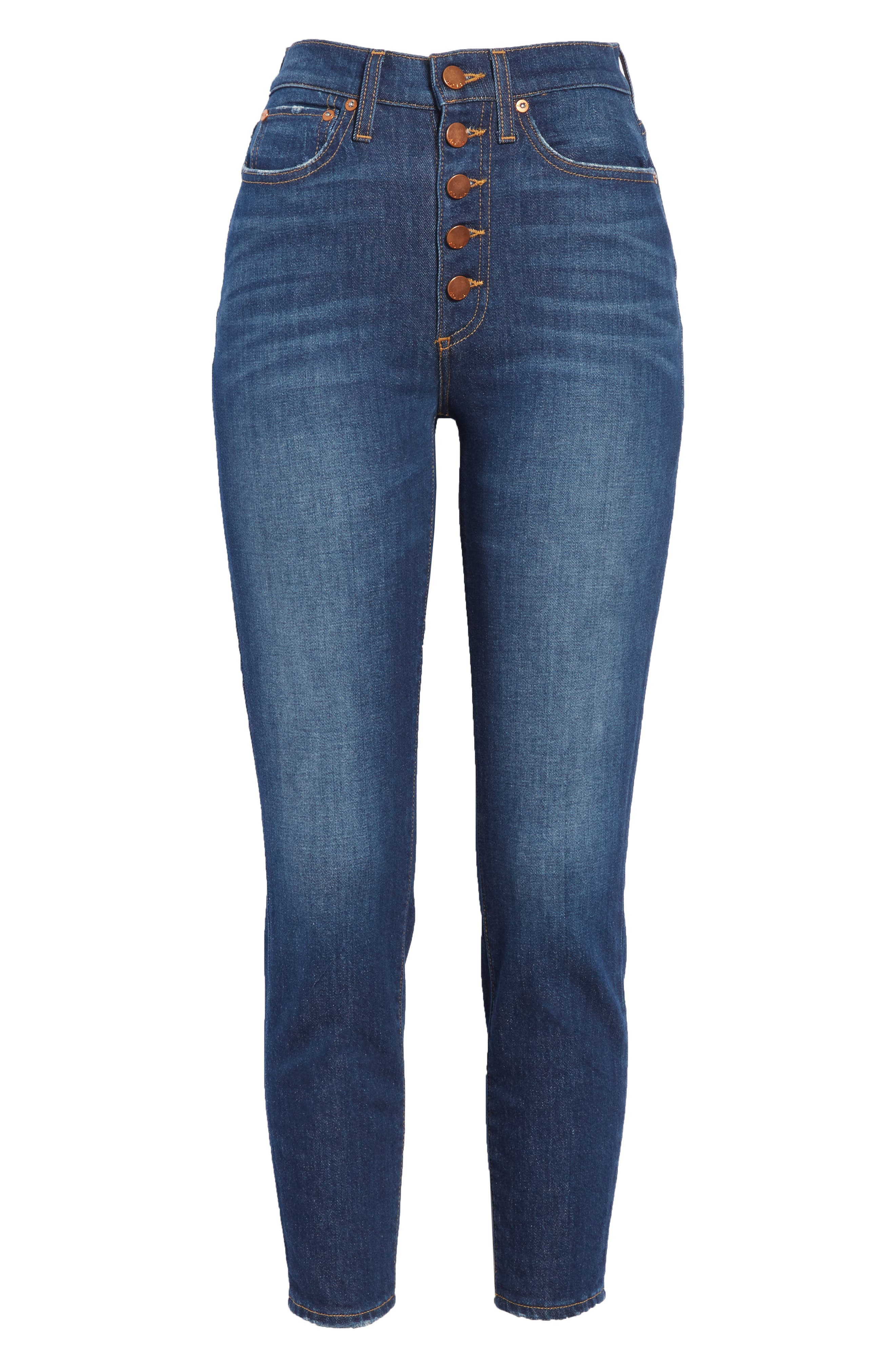 AO.LA Good High Waist Exposed Button Skinny Jeans,                             Alternate thumbnail 6, color,                             472