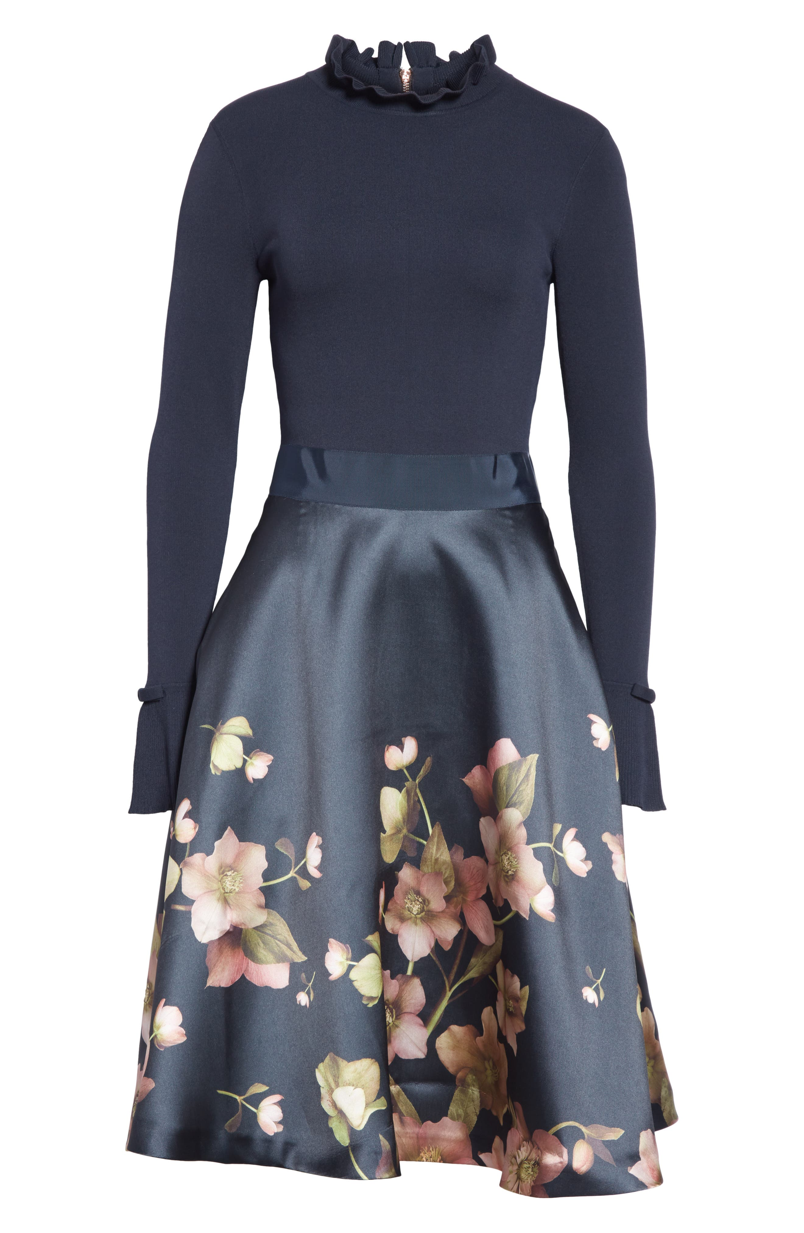 Seema Arboretum Dress,                             Alternate thumbnail 6, color,                             NAVY