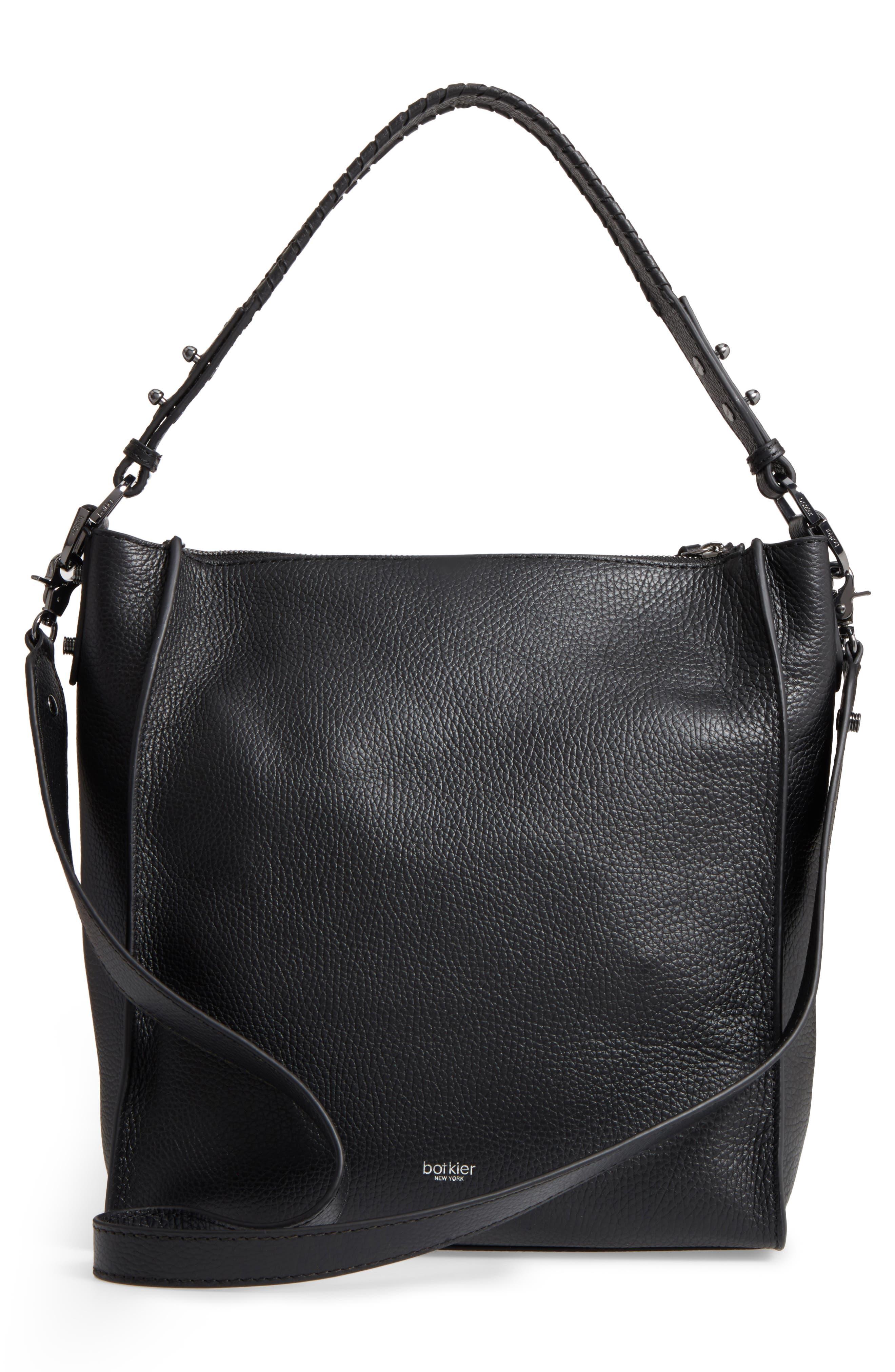 Large Paloma Leather Hobo,                             Alternate thumbnail 3, color,                             001