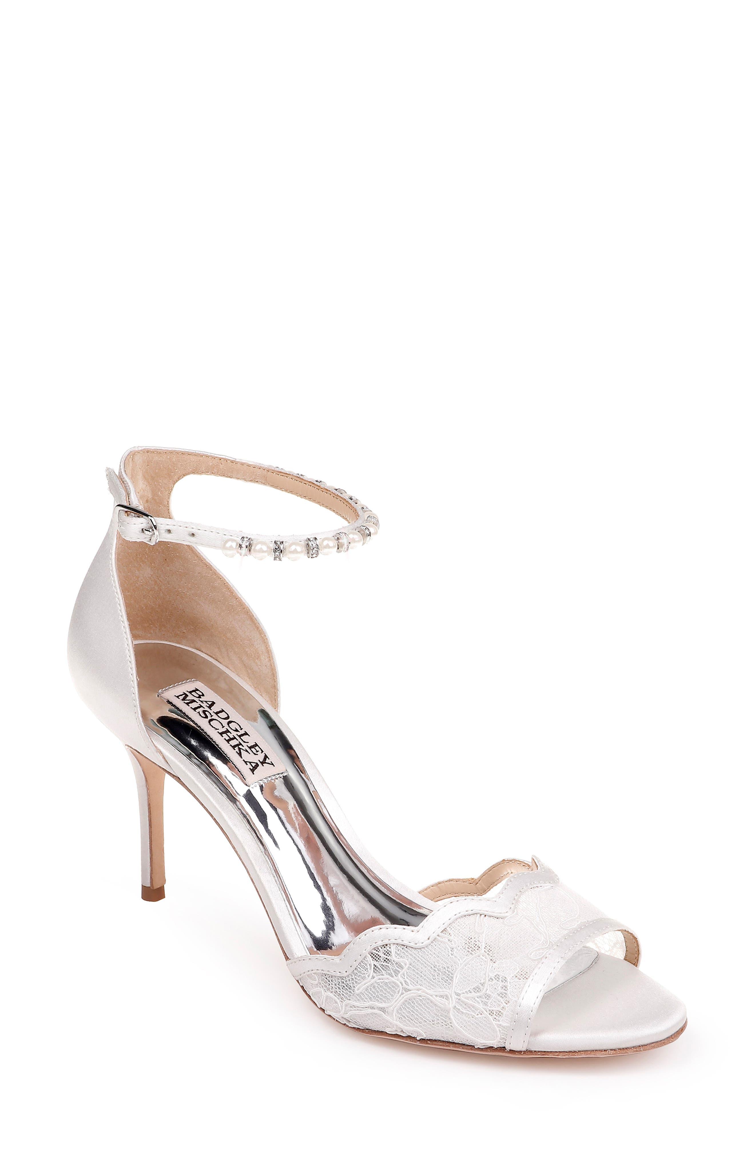 BADGLEY MISCHKA COLLECTION,                             Badgley Mischka Lenora Ankle Strap Sandal,                             Main thumbnail 1, color,                             SOFT WHITE FABRIC/ SATIN