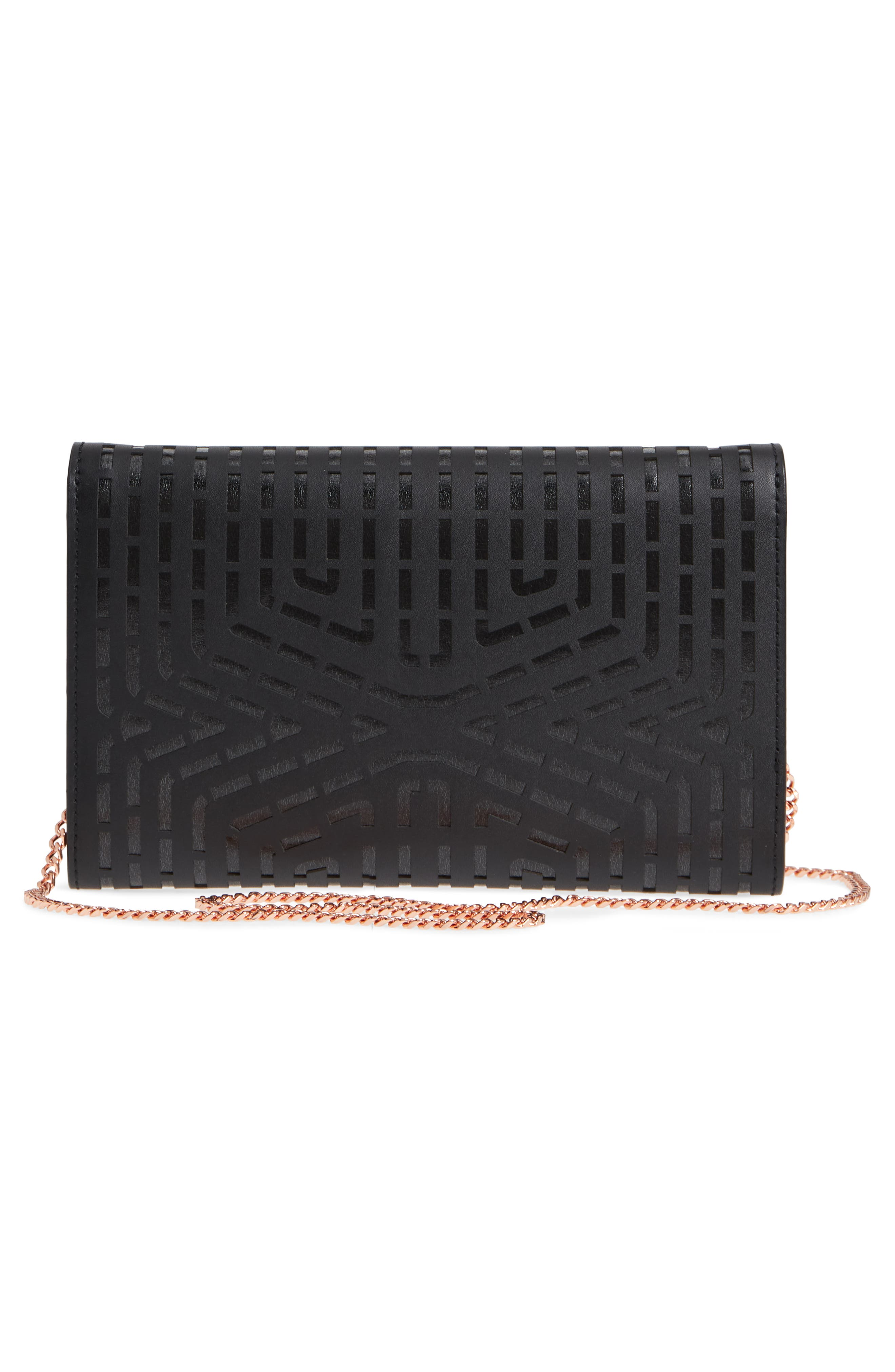 Bree Laser Cut Bow Leather Clutch,                             Alternate thumbnail 3, color,                             001