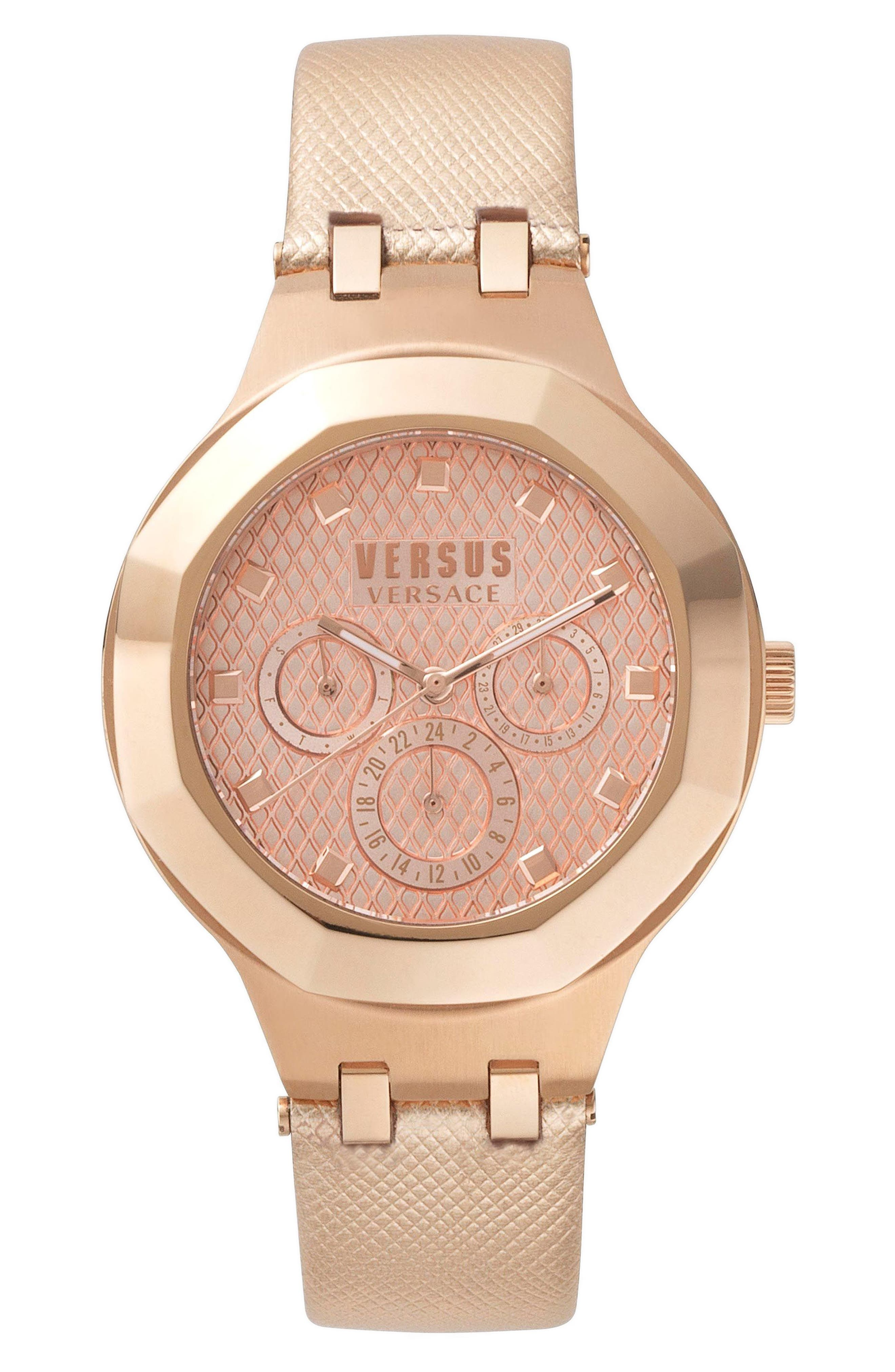 VERSUS by Versace Laguna City Multifunction Leather Strap Watch, 40mm,                             Main thumbnail 3, color,