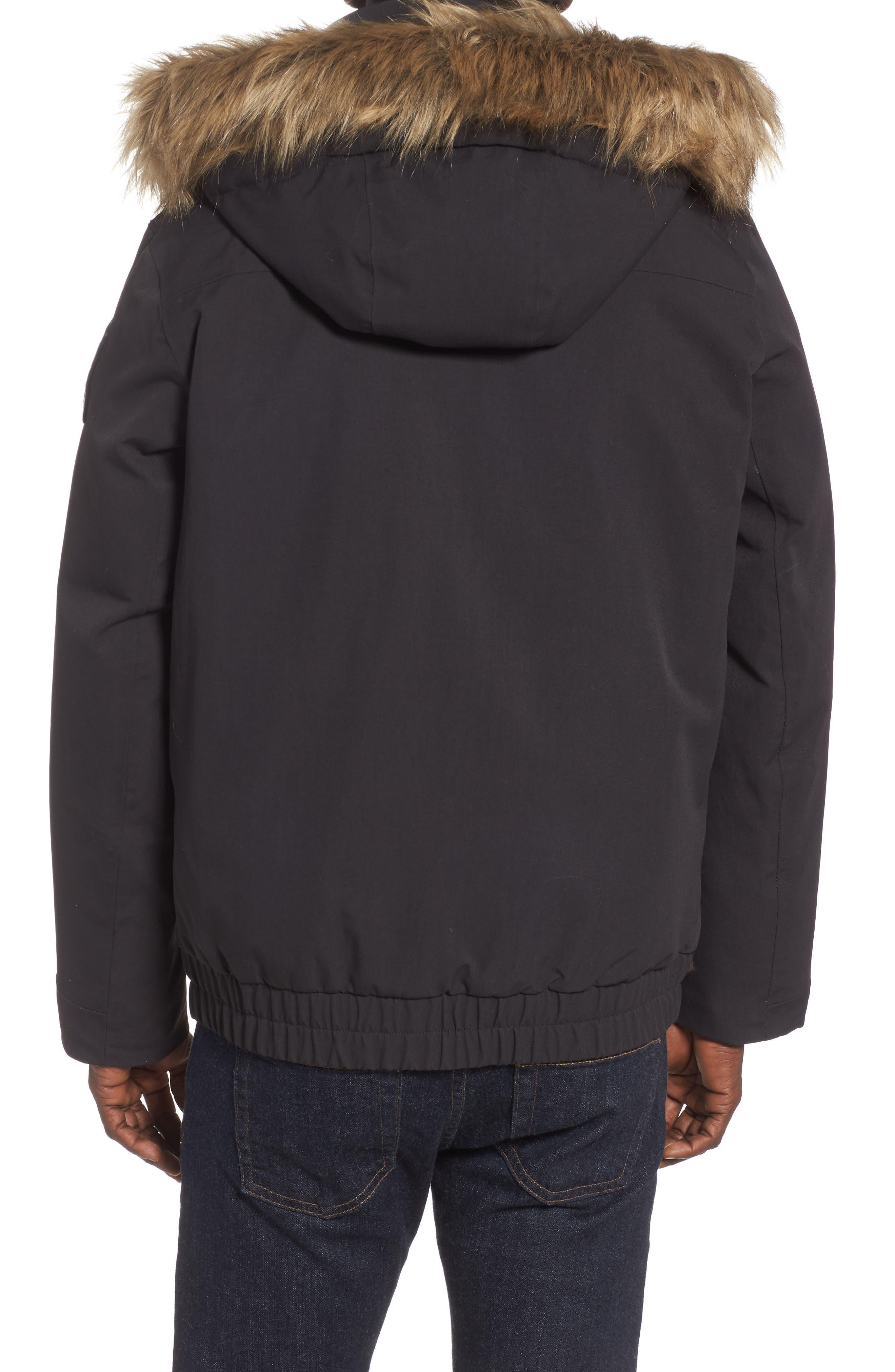 Bardu Waterproof Bomber Jacket with Detachable Hood and Faux Fur Trim,                             Alternate thumbnail 2, color,                             BLACK