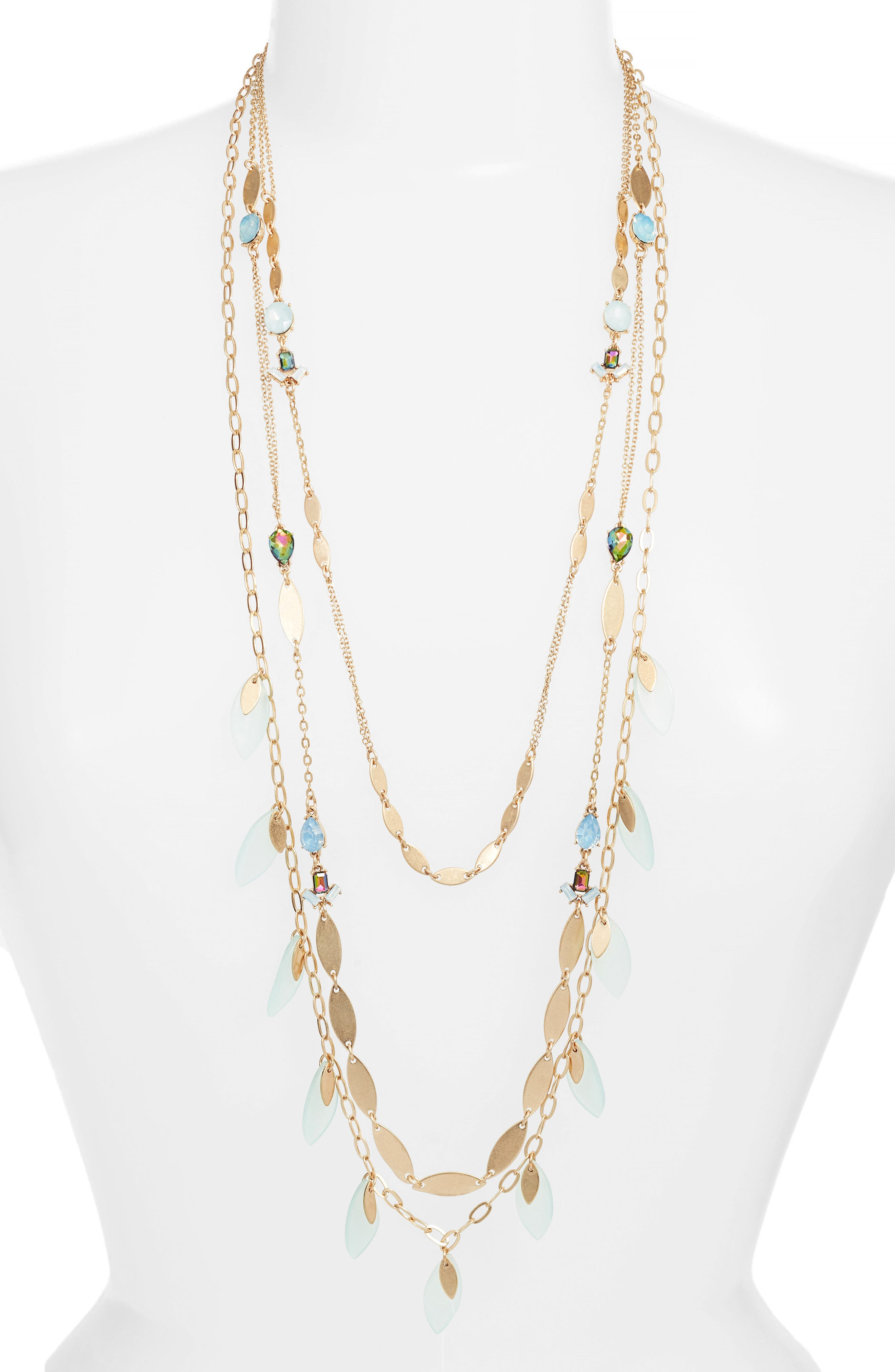 Layered Jewel & Petal Necklace,                         Main,                         color, 450