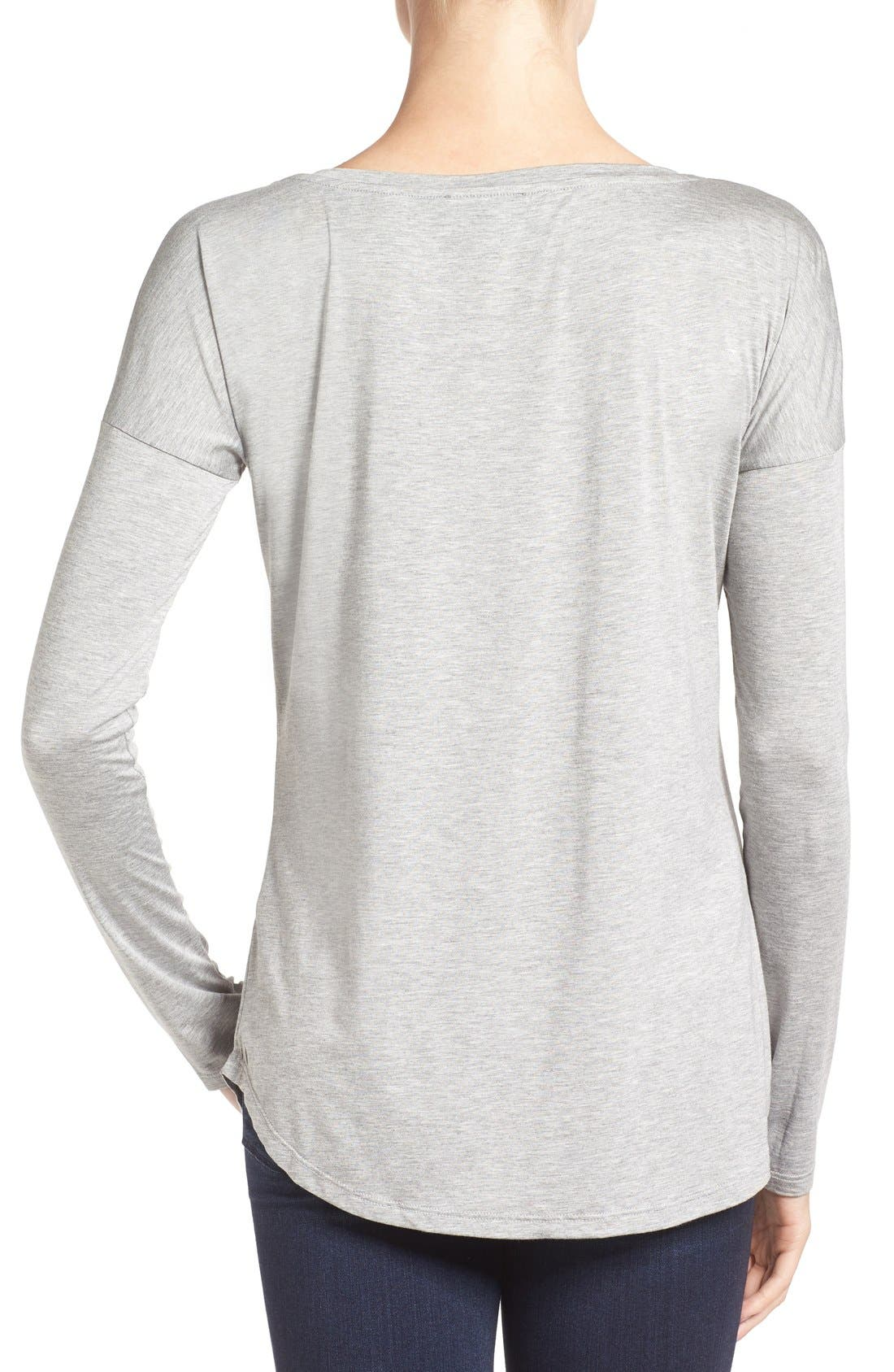 'Bess' Stretch Jersey Boatneck Tee,                             Alternate thumbnail 5, color,