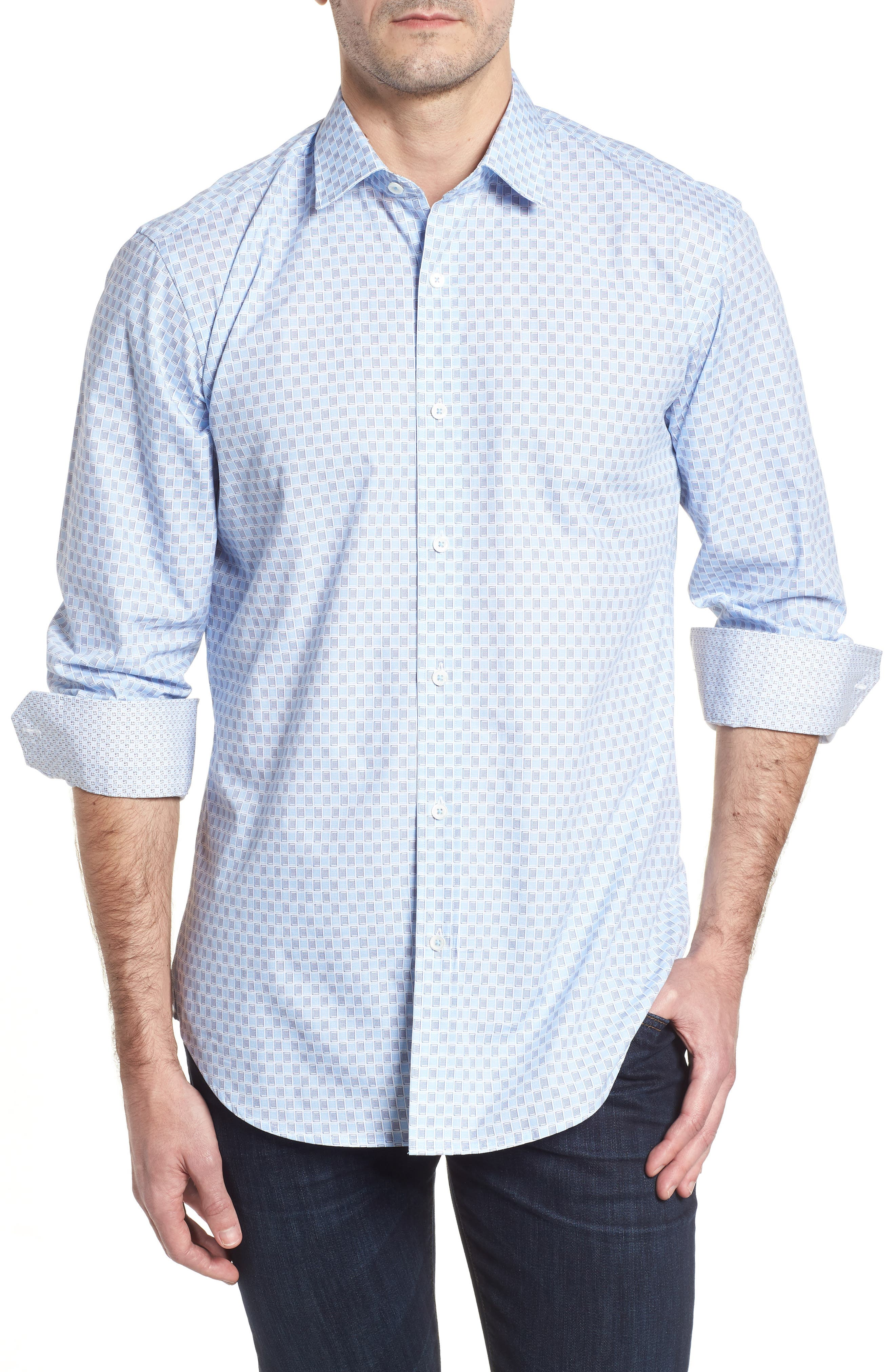 Shaped Fit Ice Cube Check Sport Shirt,                         Main,                         color, ICE BLUE