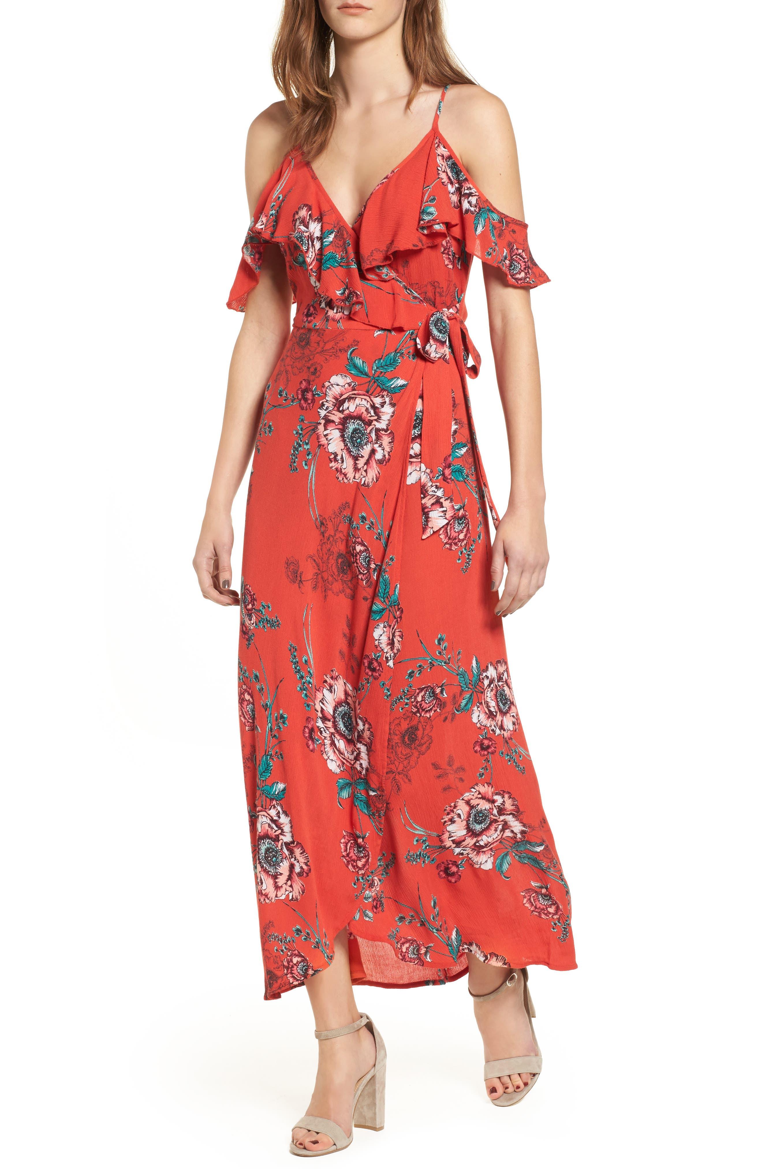 Foulard Cold Shoulder Dress,                         Main,                         color, 600
