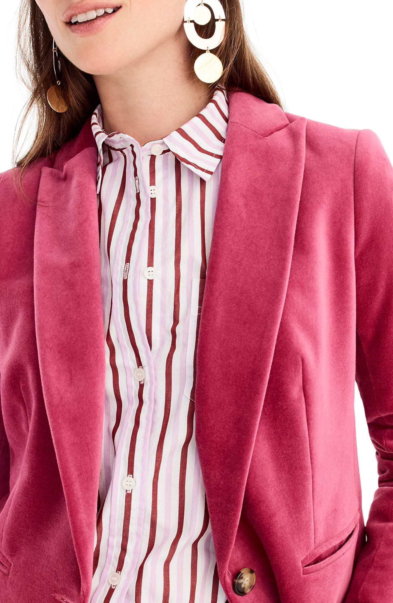 Parke Velvet Blazer,                             Alternate thumbnail 5, color,                             DRIED ROSE