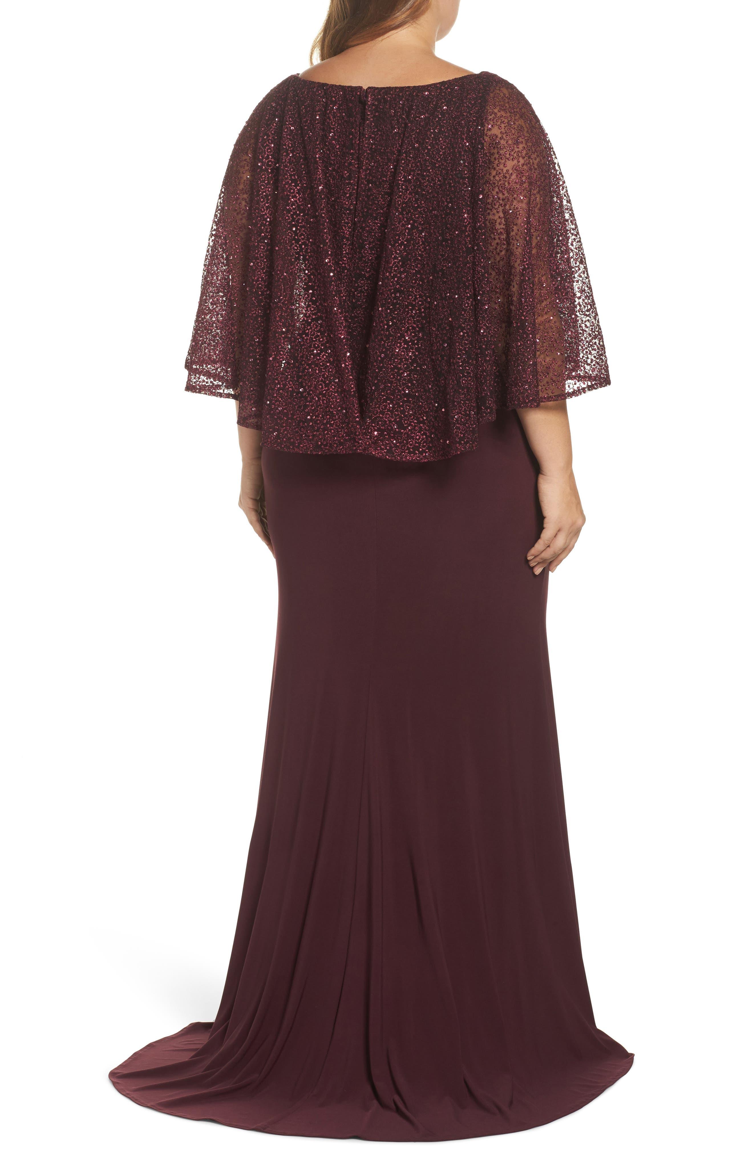 Lace Capelet Column Gown,                             Alternate thumbnail 2, color,                             BURGUNDY